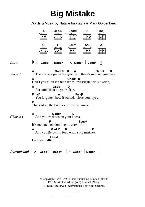 Big Mistake Sheet Music By Natalie Imbruglia Lyrics Chords 101108