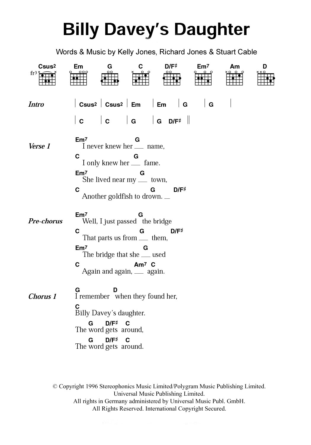 Billy Davey's Daughter by Stereophonics   Guitar Chords/Lyrics ...