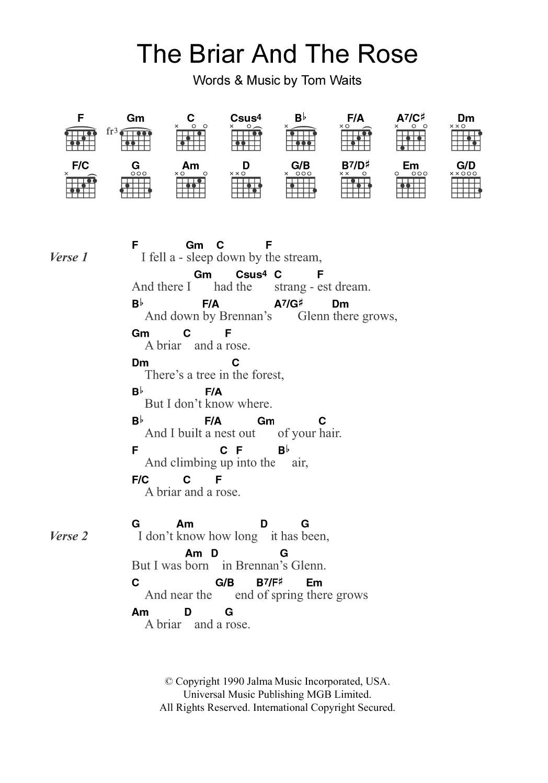 The Briar And The Rose Sheet Music Tom Waits Lyrics Chords