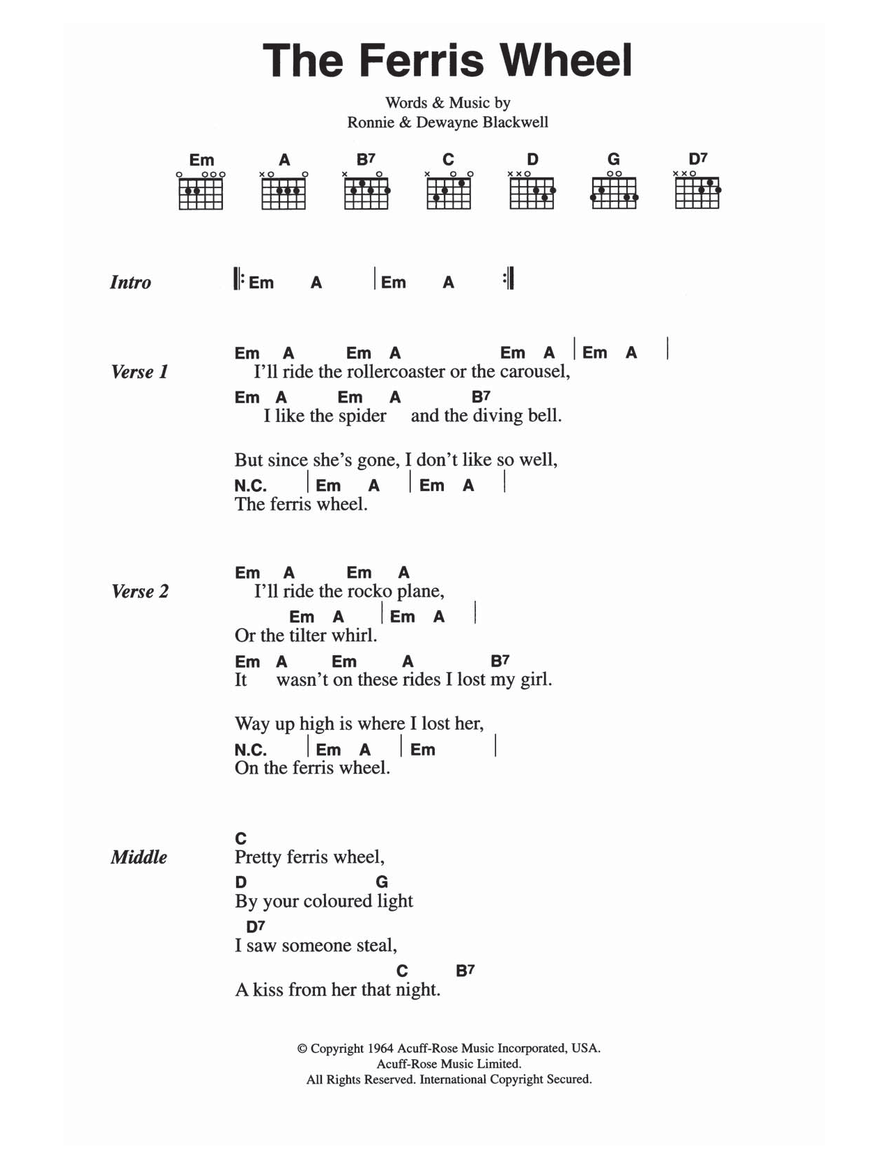 The Ferris Wheel by The Everly Brothers - Guitar Chords ...