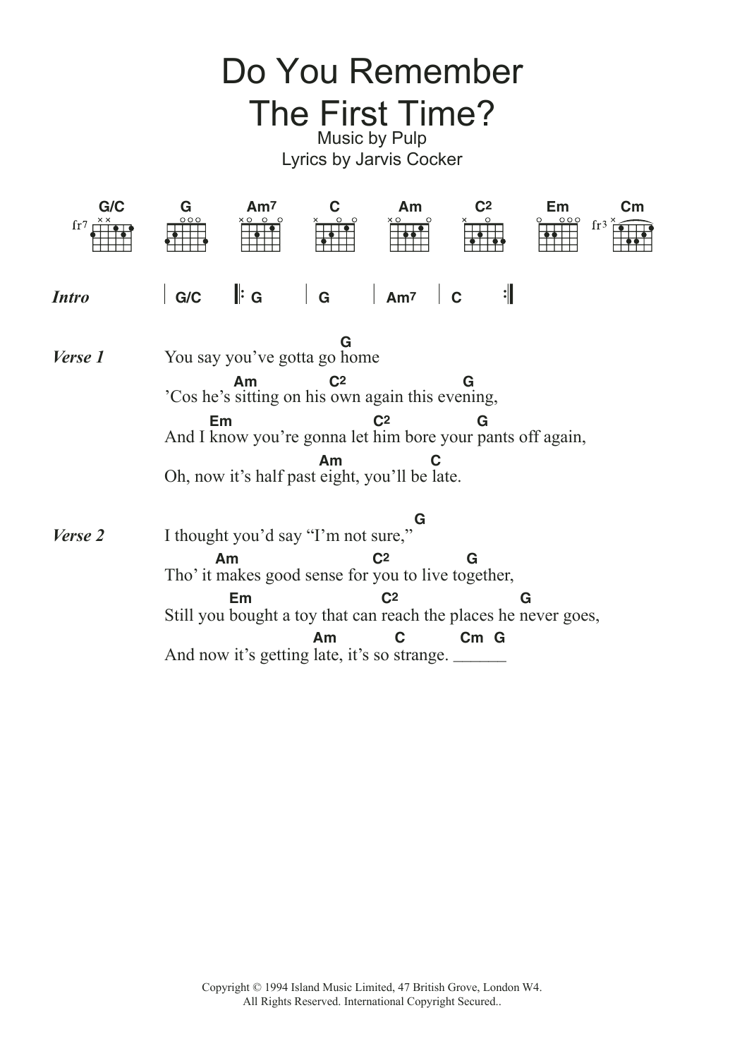 Do You Remember The First Time? Sheet Music