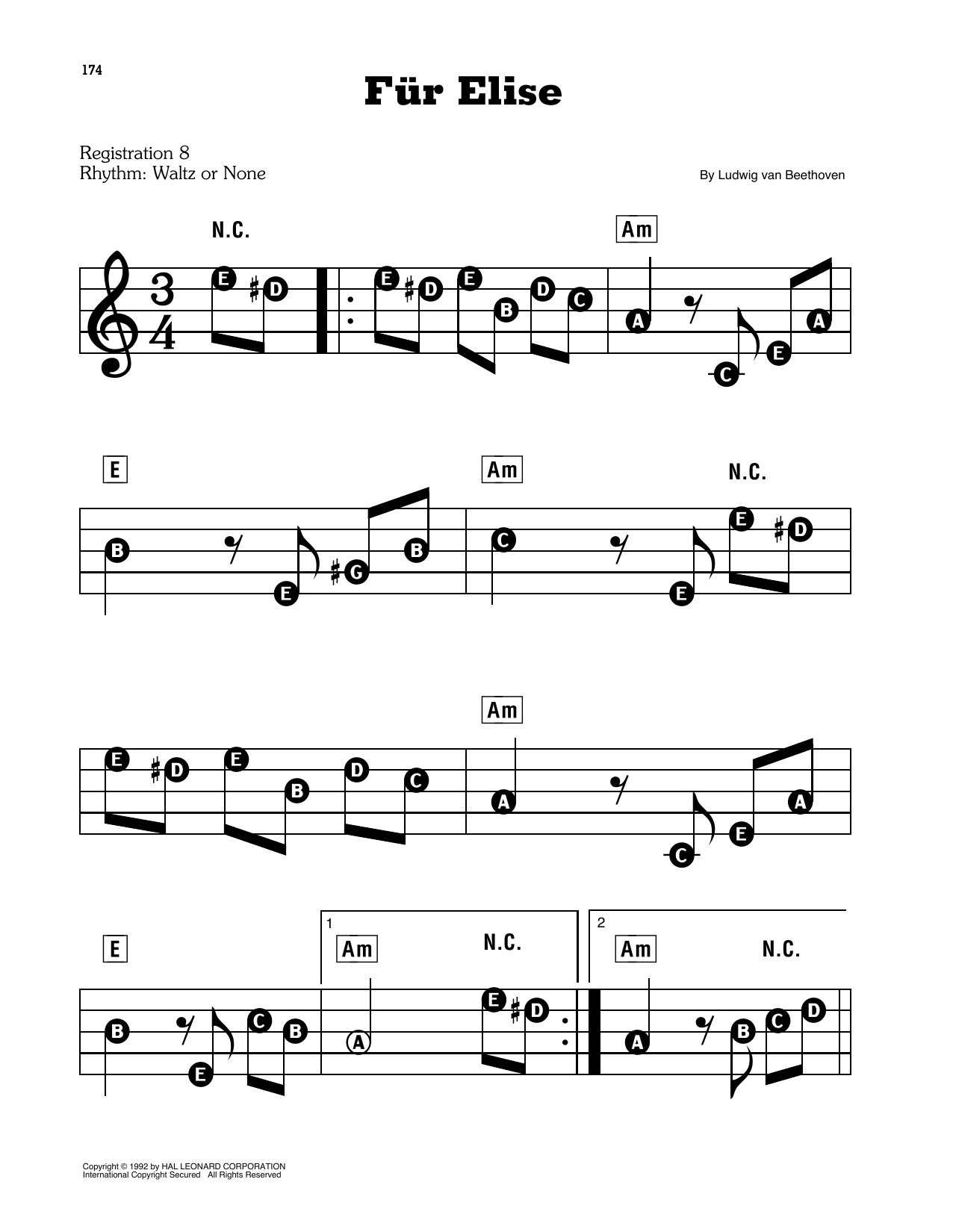 Fur Elise, WoO 59 (E-Z Play Today)