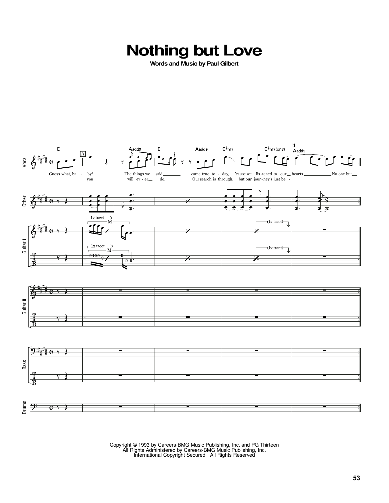 Nothing But Love (Guitar Tab)