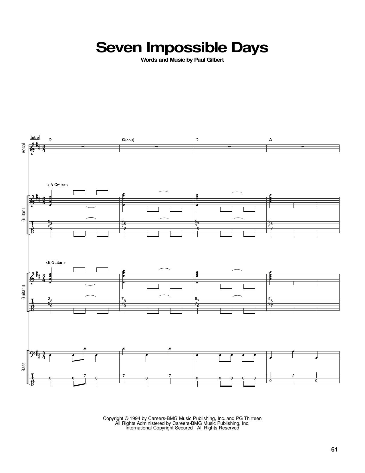 Seven Impossible Days Sheet Music