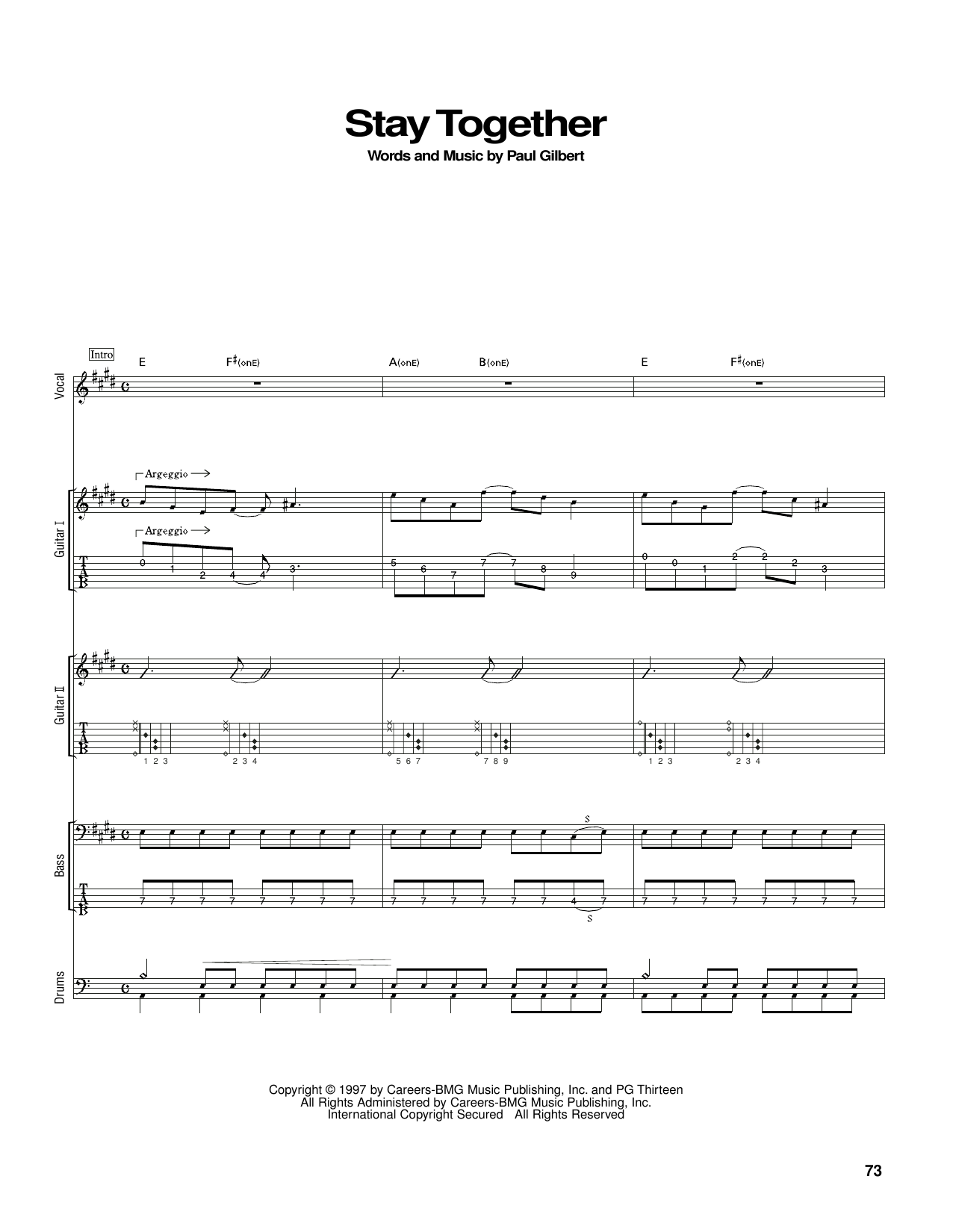 Stay Together (Guitar Tab)