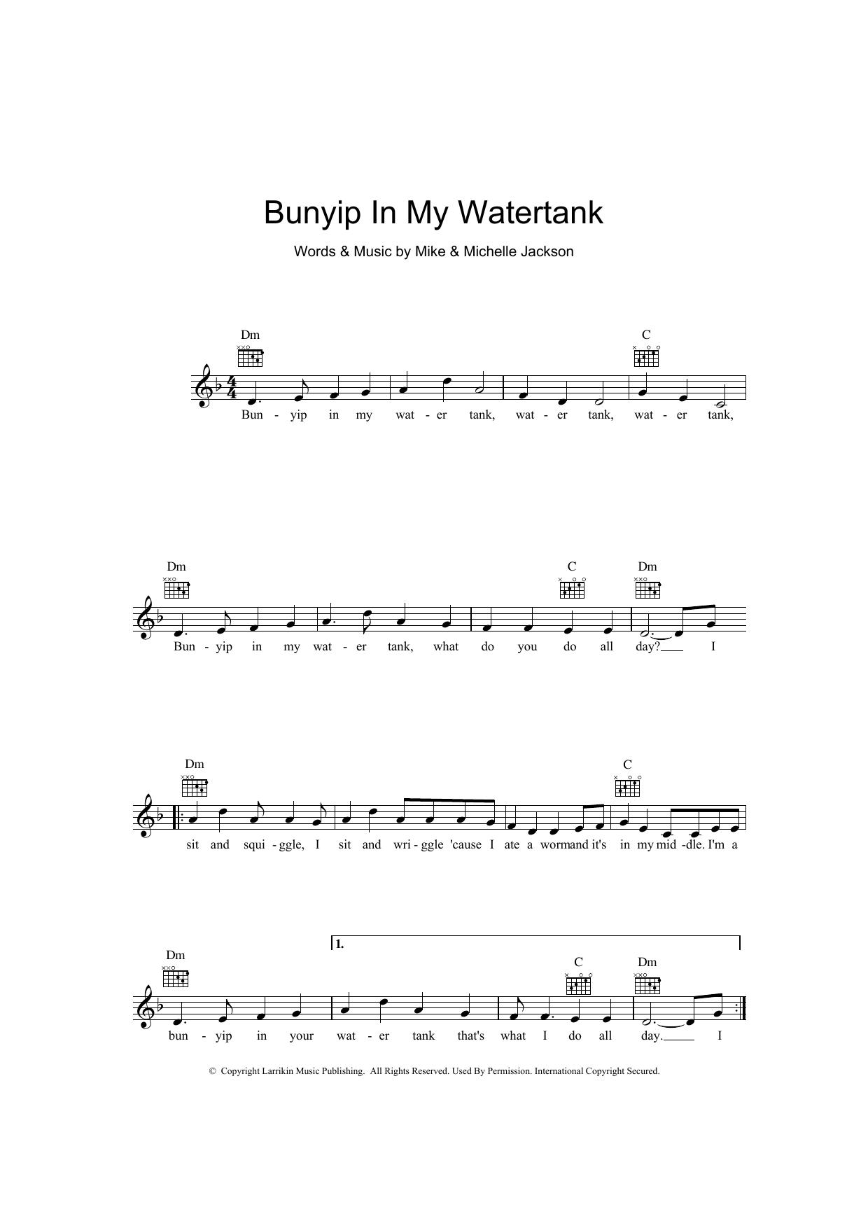 Bunyip In My Water Tank Sheet Music