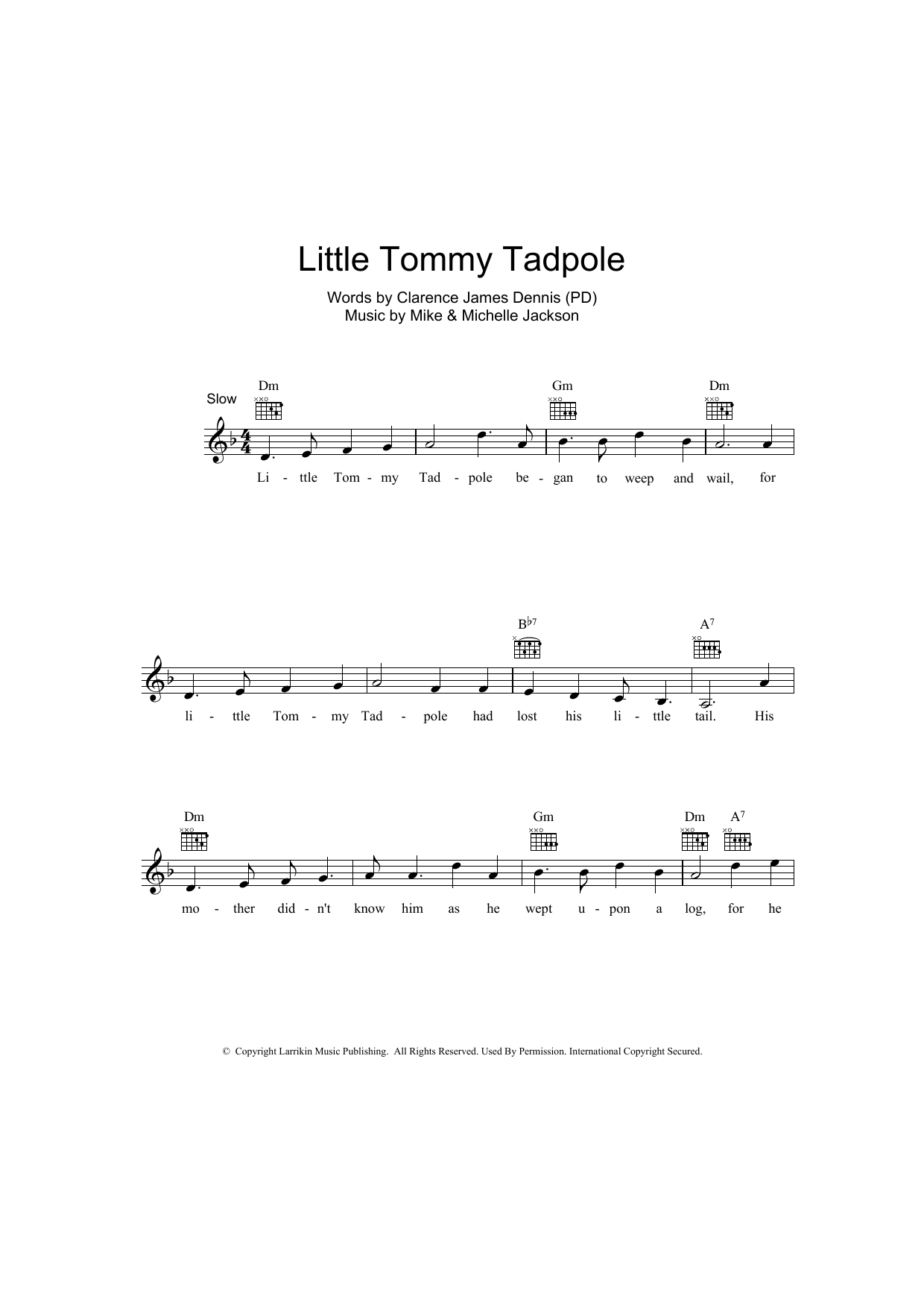 Little Tommy Tadpole Sheet Music Clarence James Dennis Melody