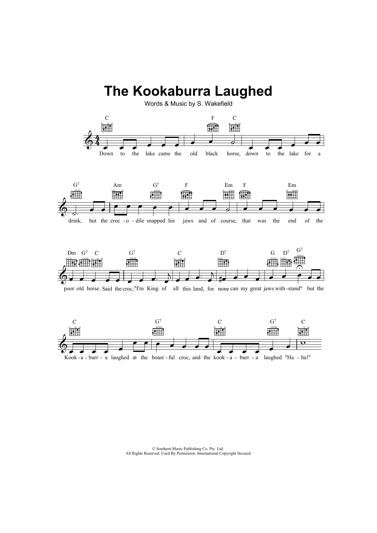 The Kookaburra Laughed Sheet Music