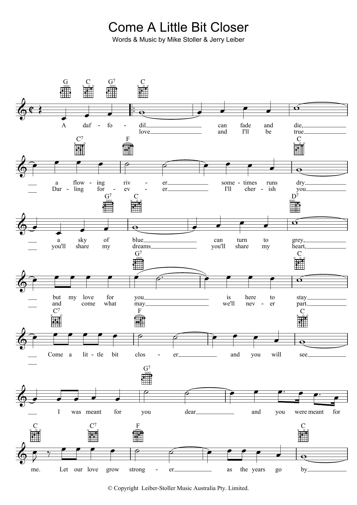 Come A Little Bit Closer (Lead Sheet / Fake Book)