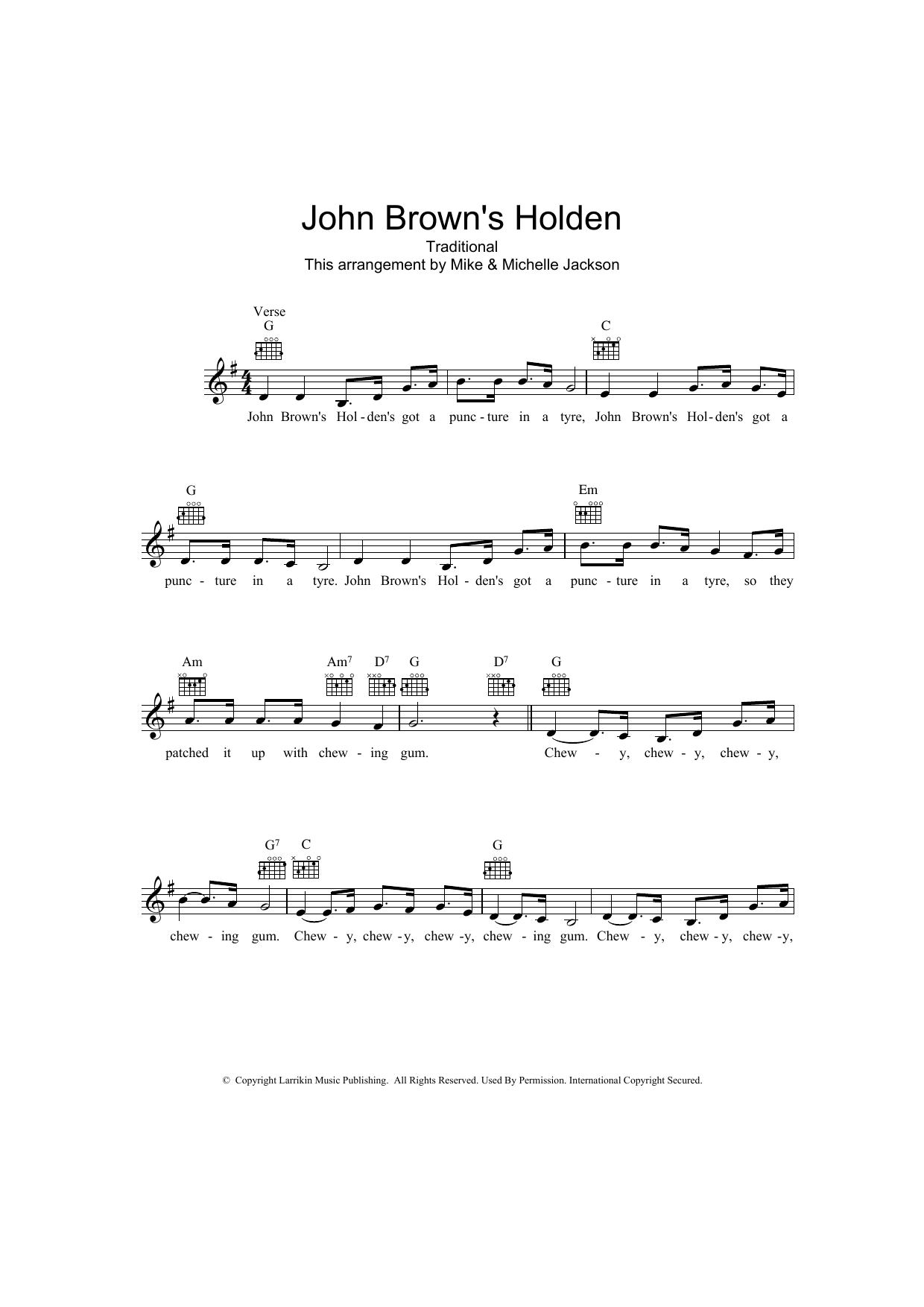 John Brown's Holden Sheet Music