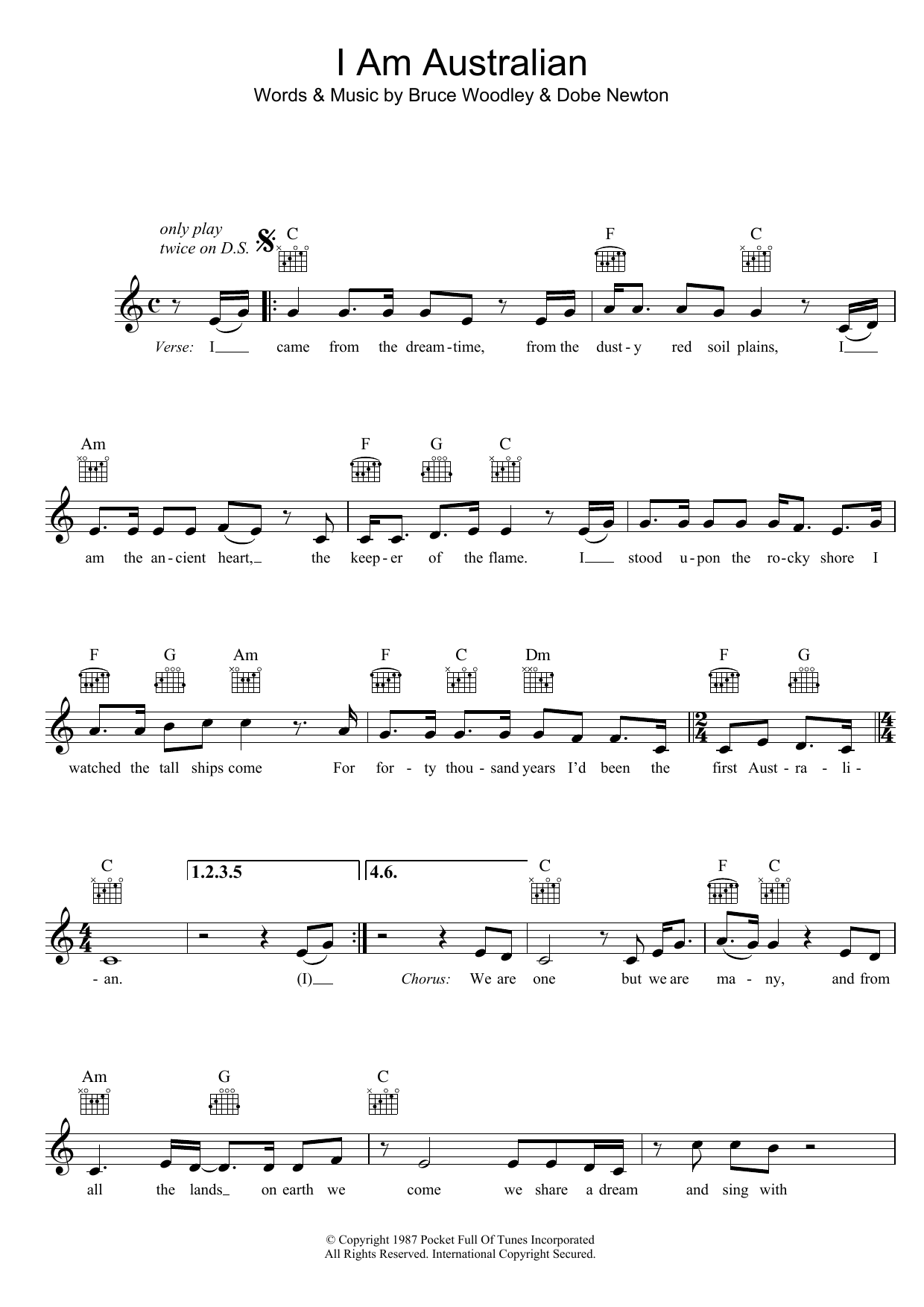 I Am Australian Sheet Music