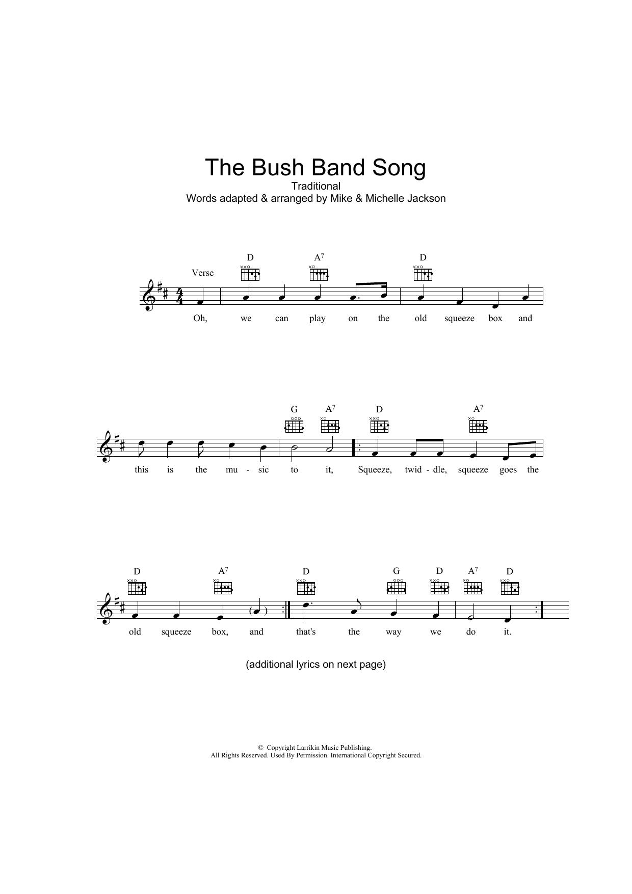 The Bush Band Song Sheet Music