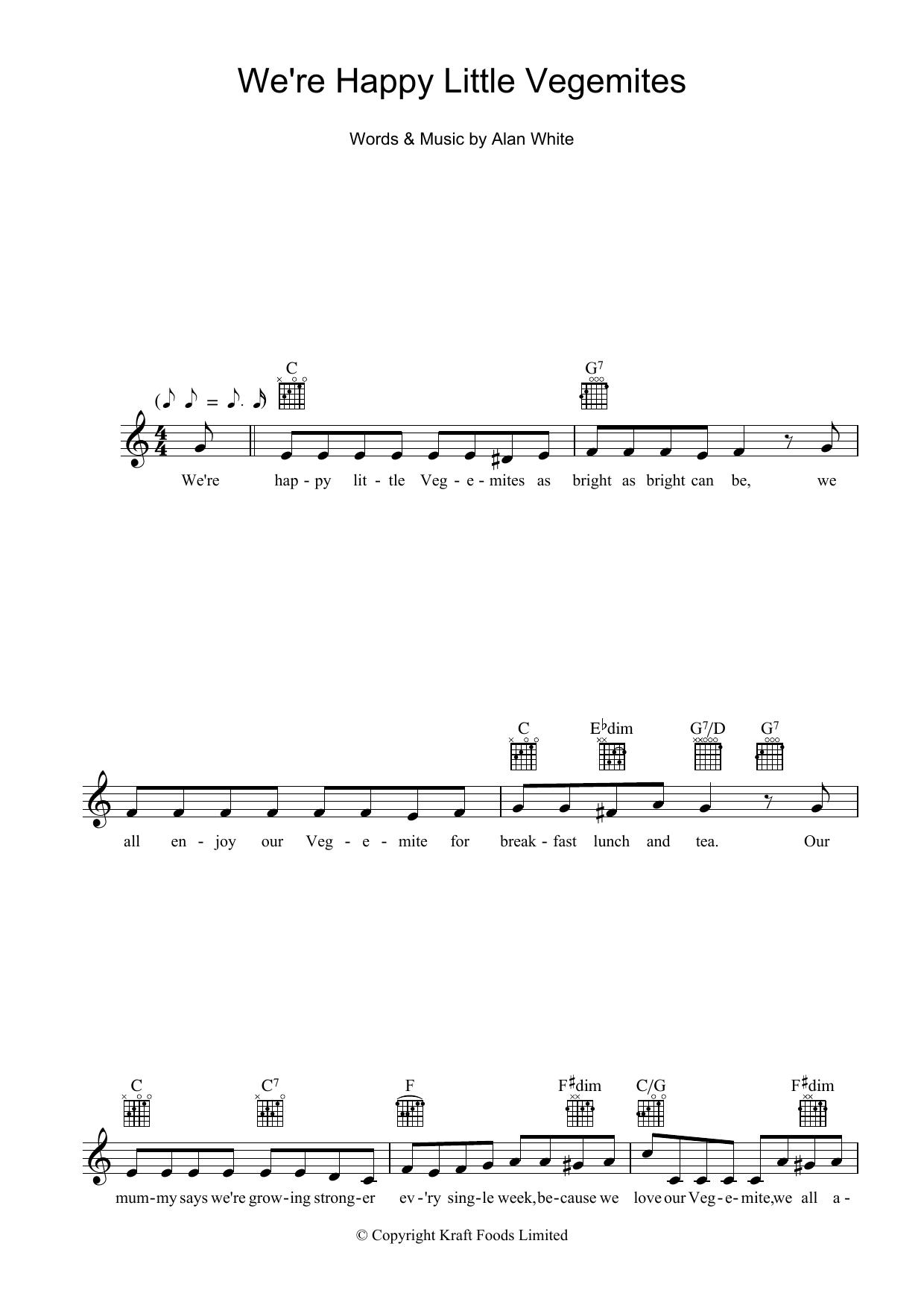 We're Happy Little Vegemites Sheet Music