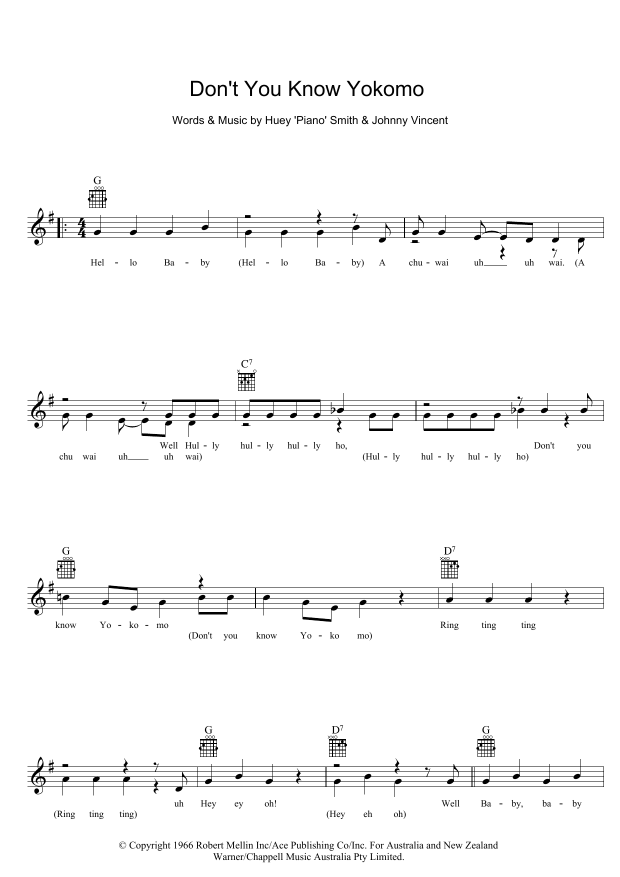 Don't You Know Yokomo Sheet Music