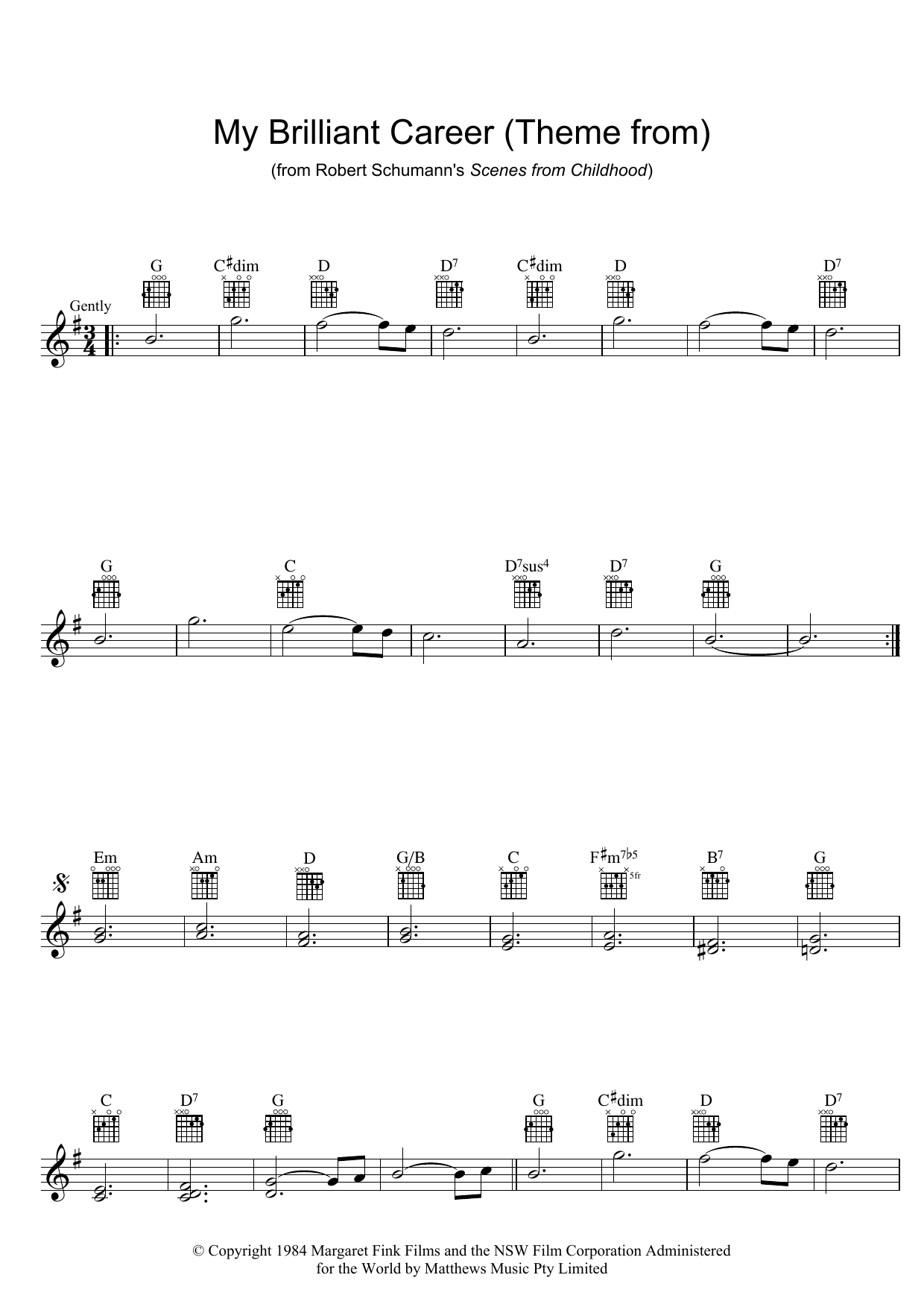 Theme From My Brilliant Career (Lead Sheet / Fake Book)