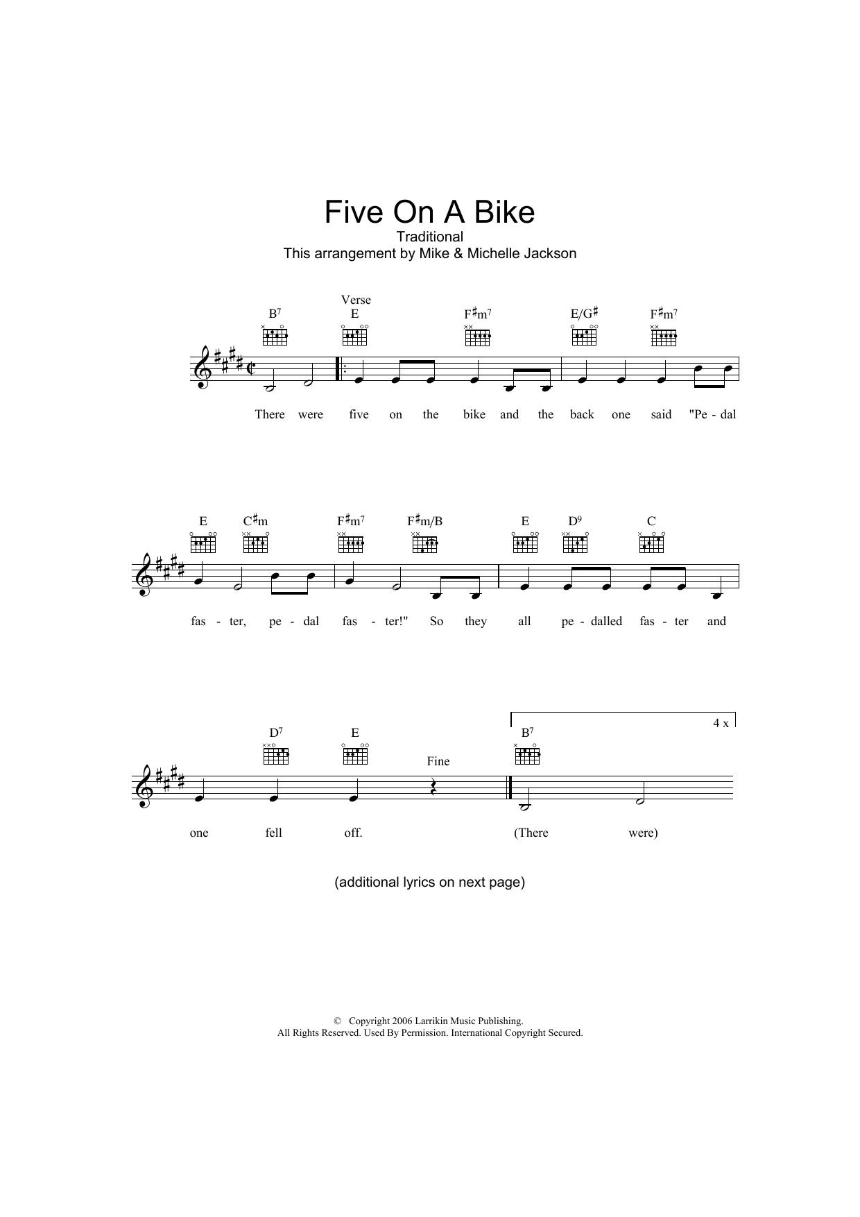 Five On A Bike Sheet Music