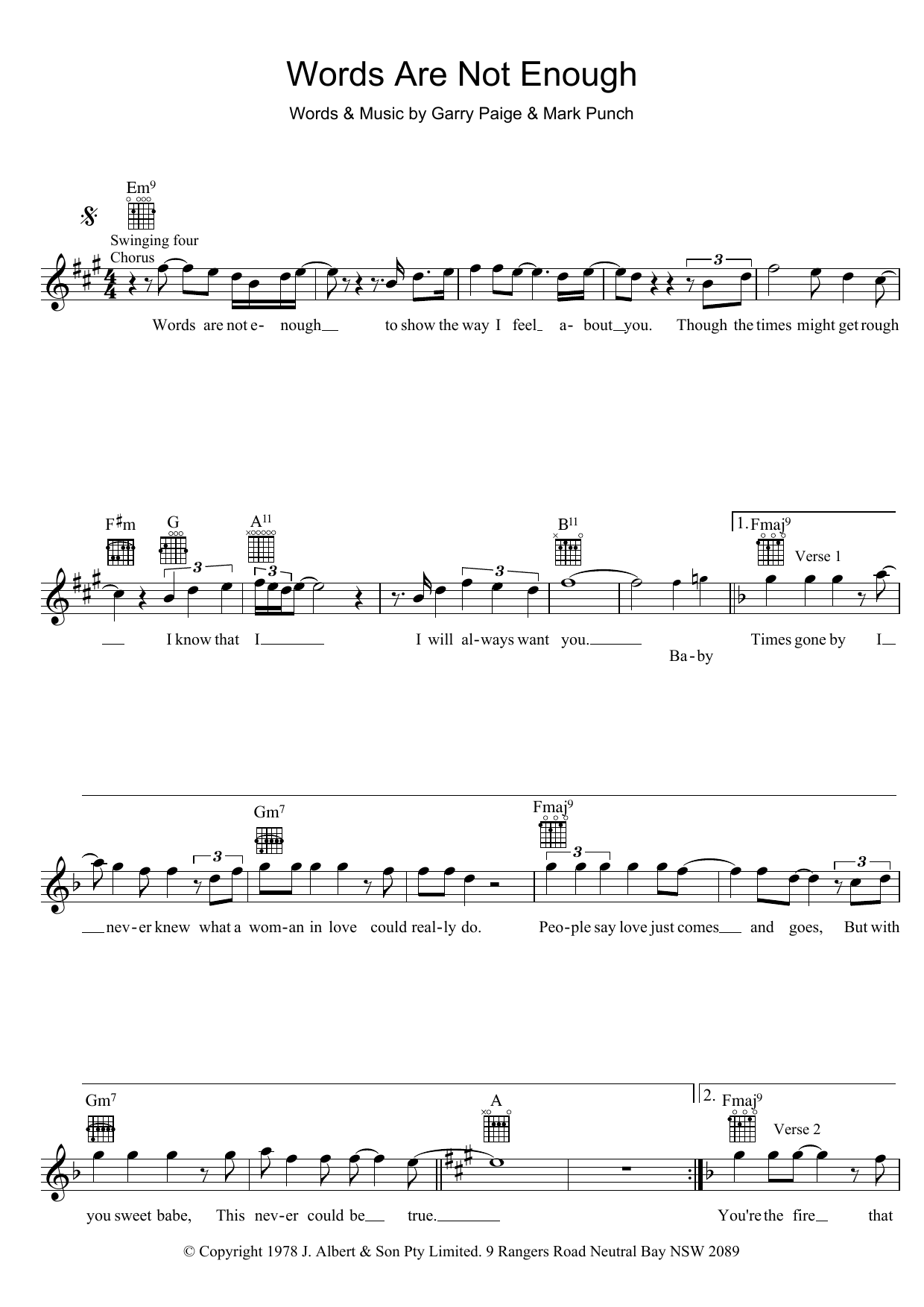 Words Are Not Enough Sheet Music