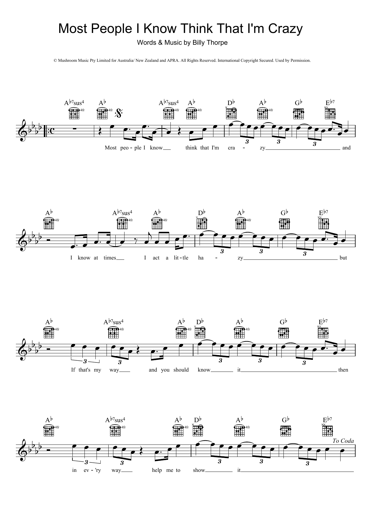 Most People I Know Think That Im Crazy Sheet Music Billy Thorpe