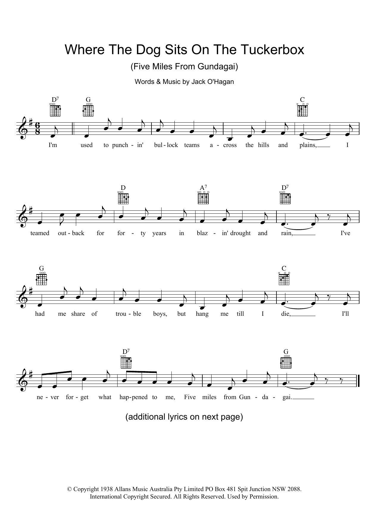 Where The Dog Sits On The Tuckerbox (Five Miles From Gundagai) Sheet Music