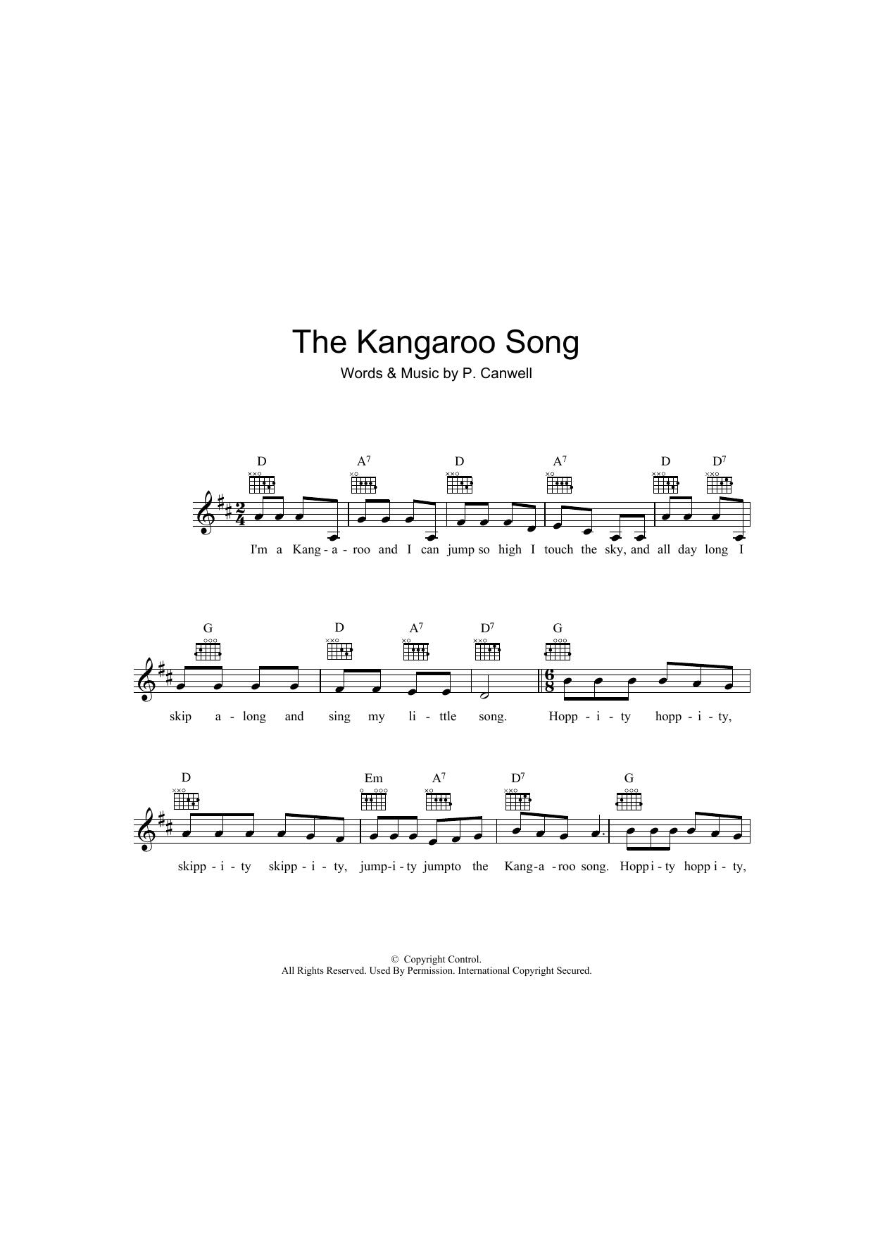 The Kangaroo Song Sheet Music