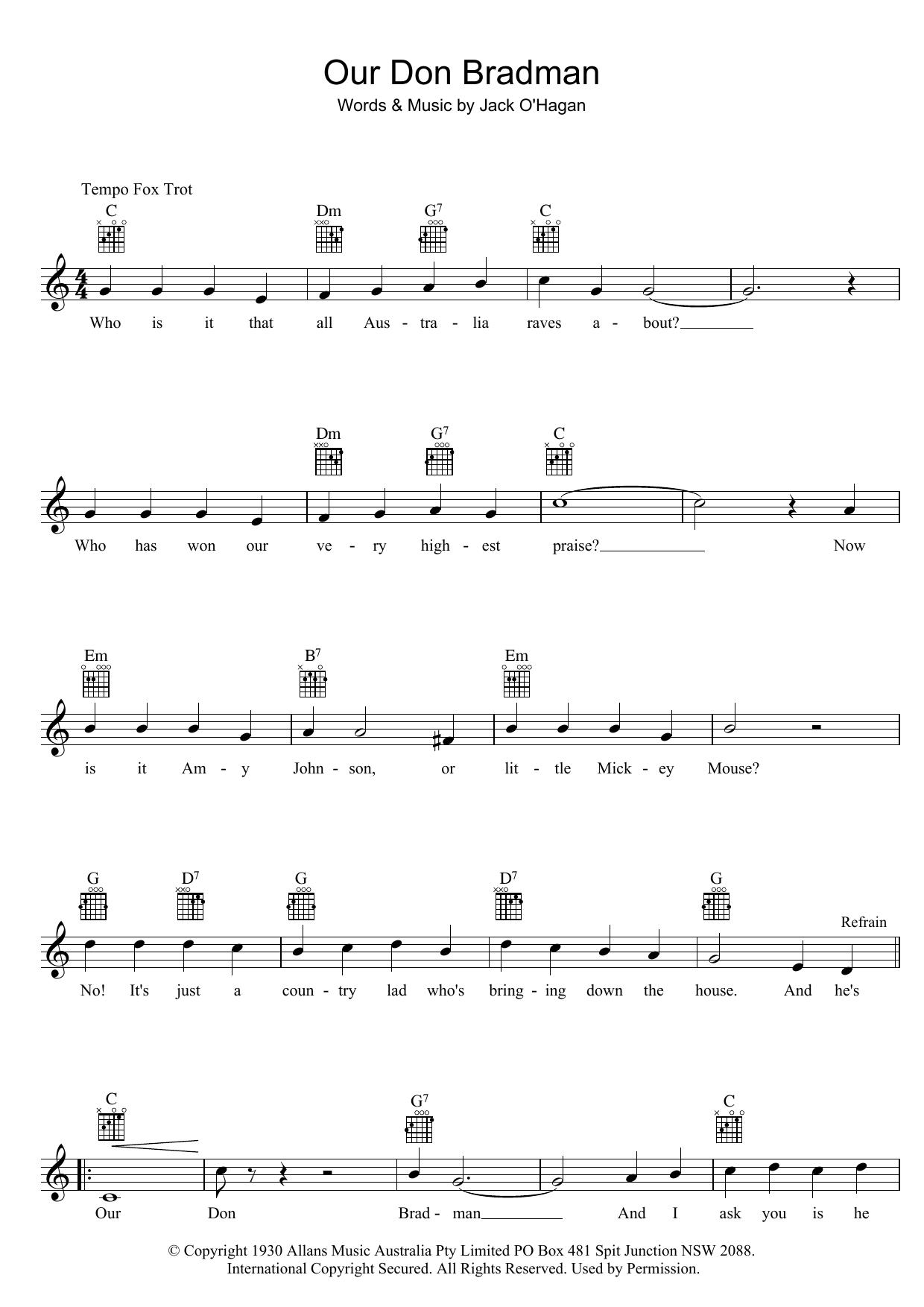 Our Don Bradman Sheet Music
