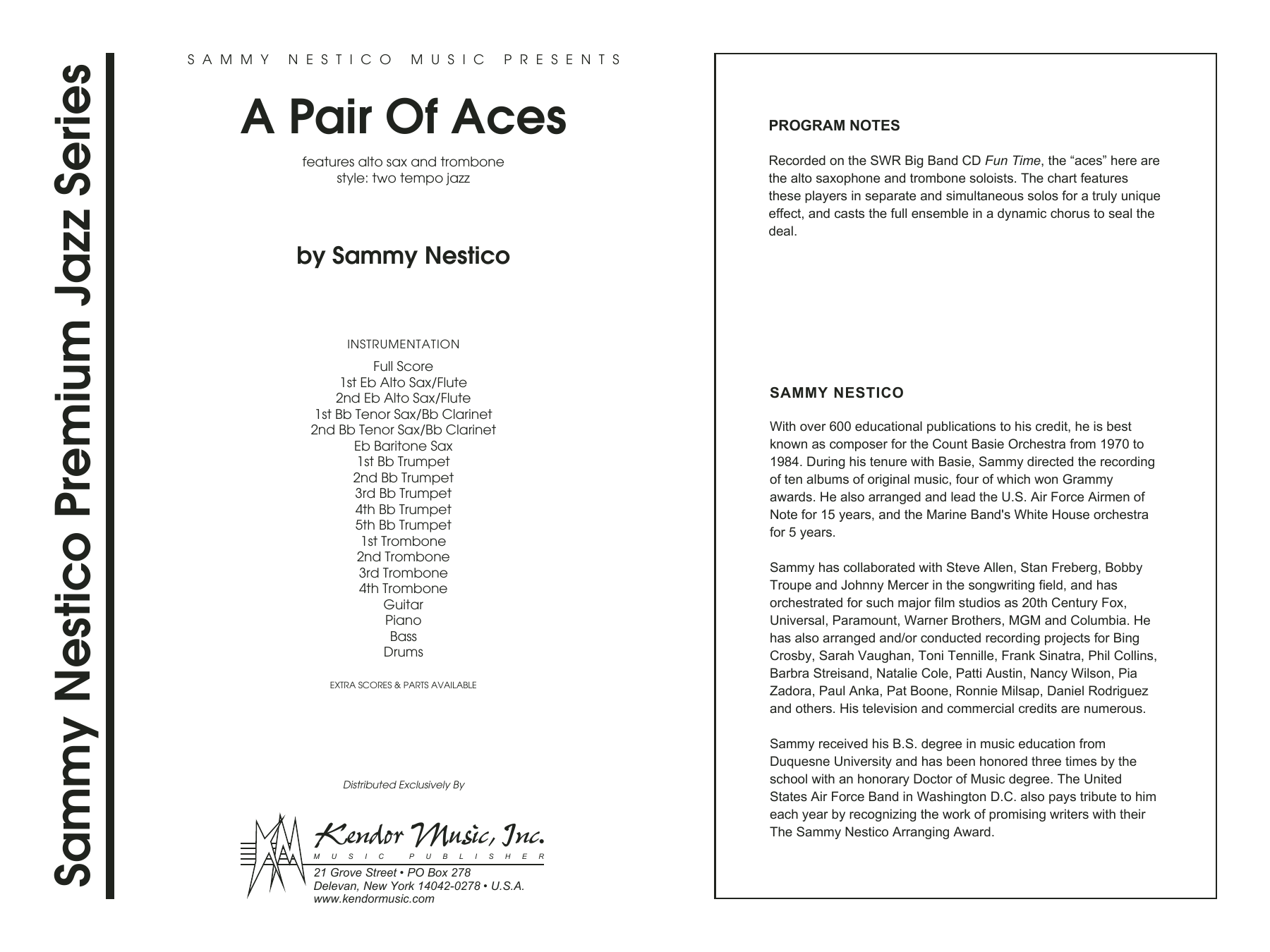 A Pair Of Aces (COMPLETE) sheet music for jazz band by Sammy Nestico. Score Image Preview.