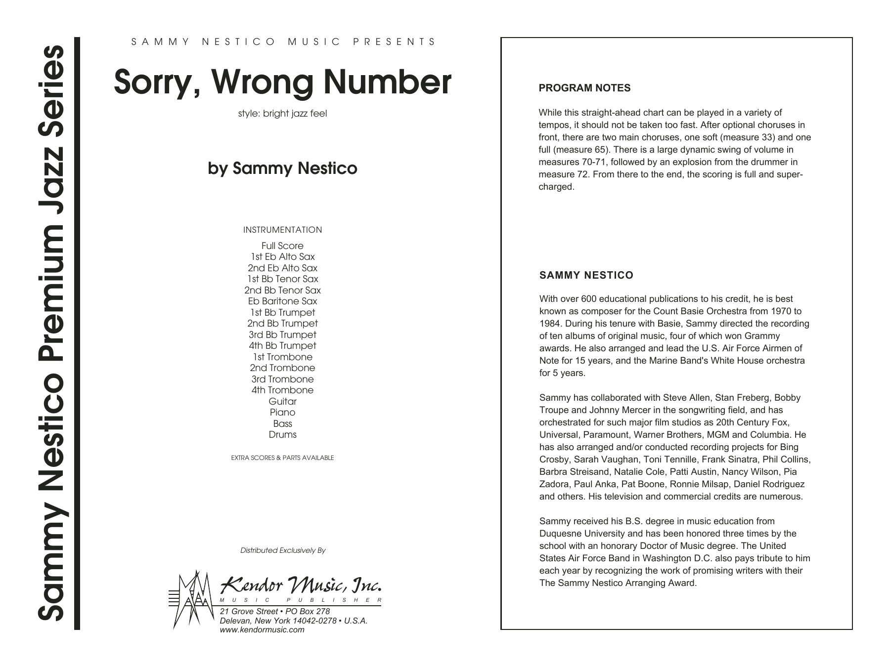 Sorry, Wrong Number (COMPLETE) sheet music for jazz band by Sammy Nestico. Score Image Preview.