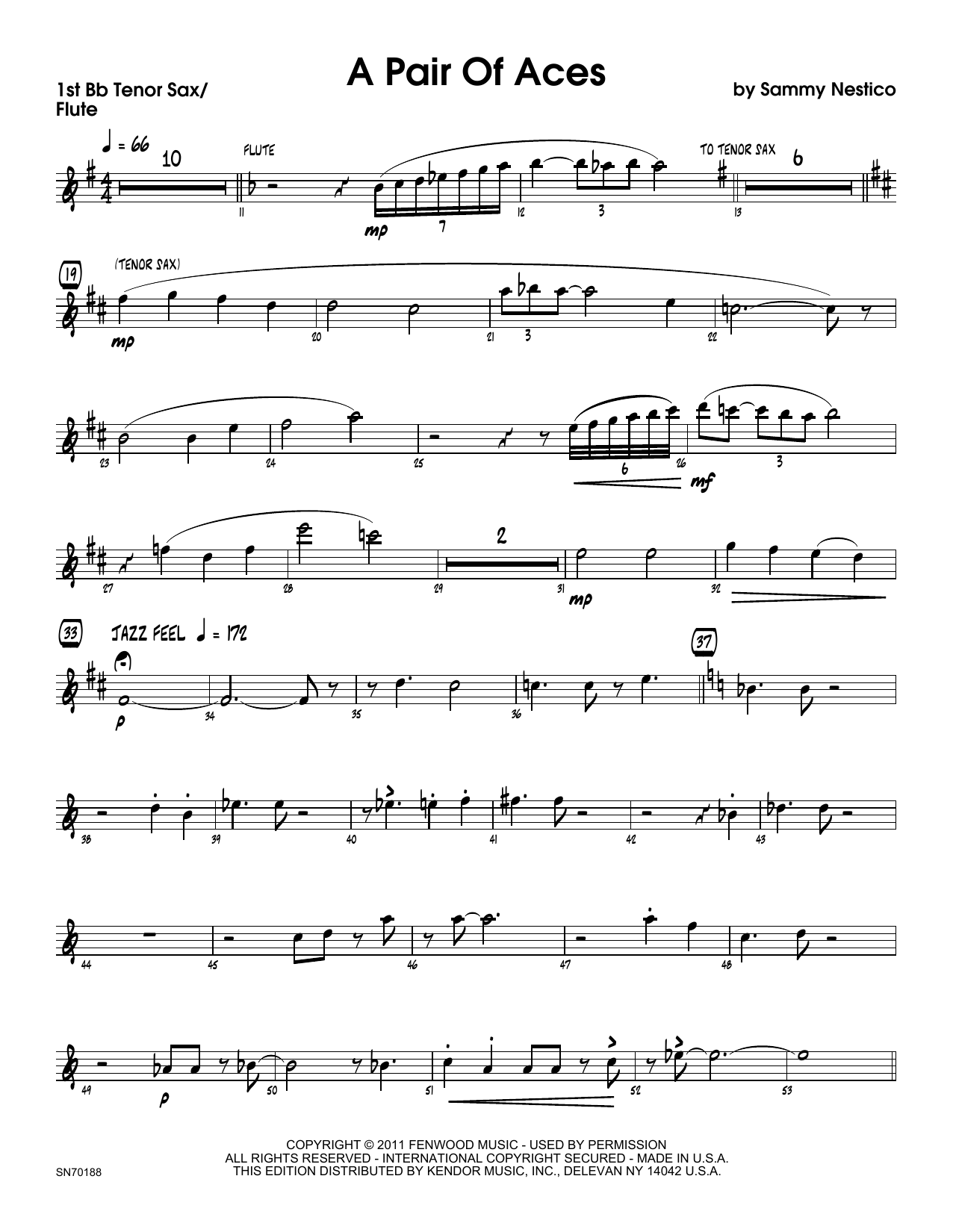 A Pair Of Aces - 1st Tenor Saxophone Sheet Music