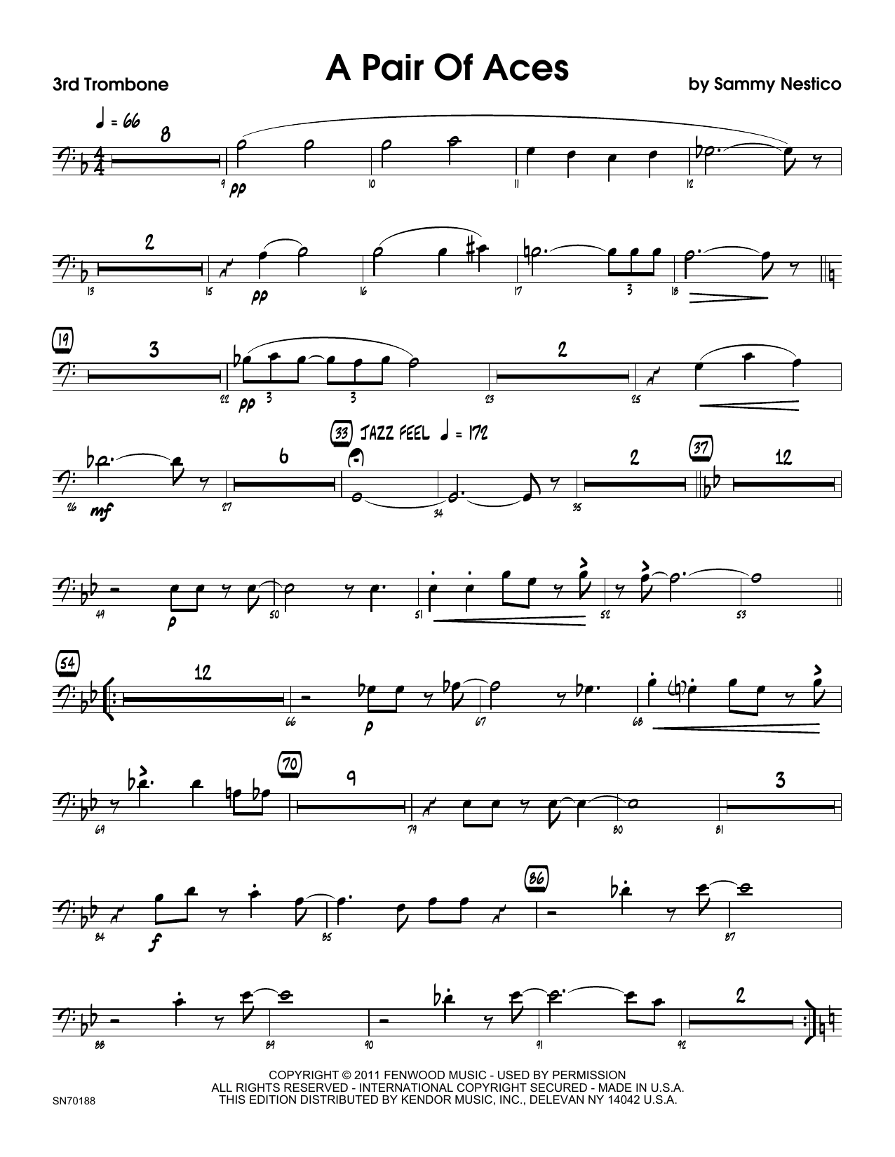 A Pair Of Aces - 3rd Trombone Sheet Music