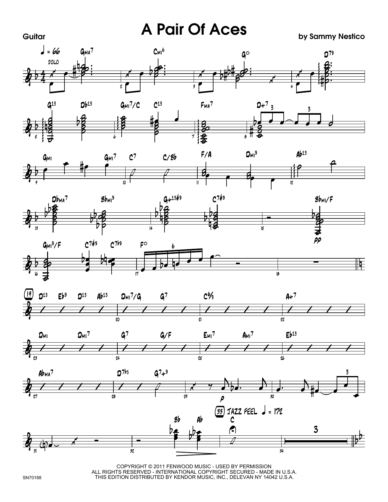 A Pair Of Aces - Guitar Sheet Music