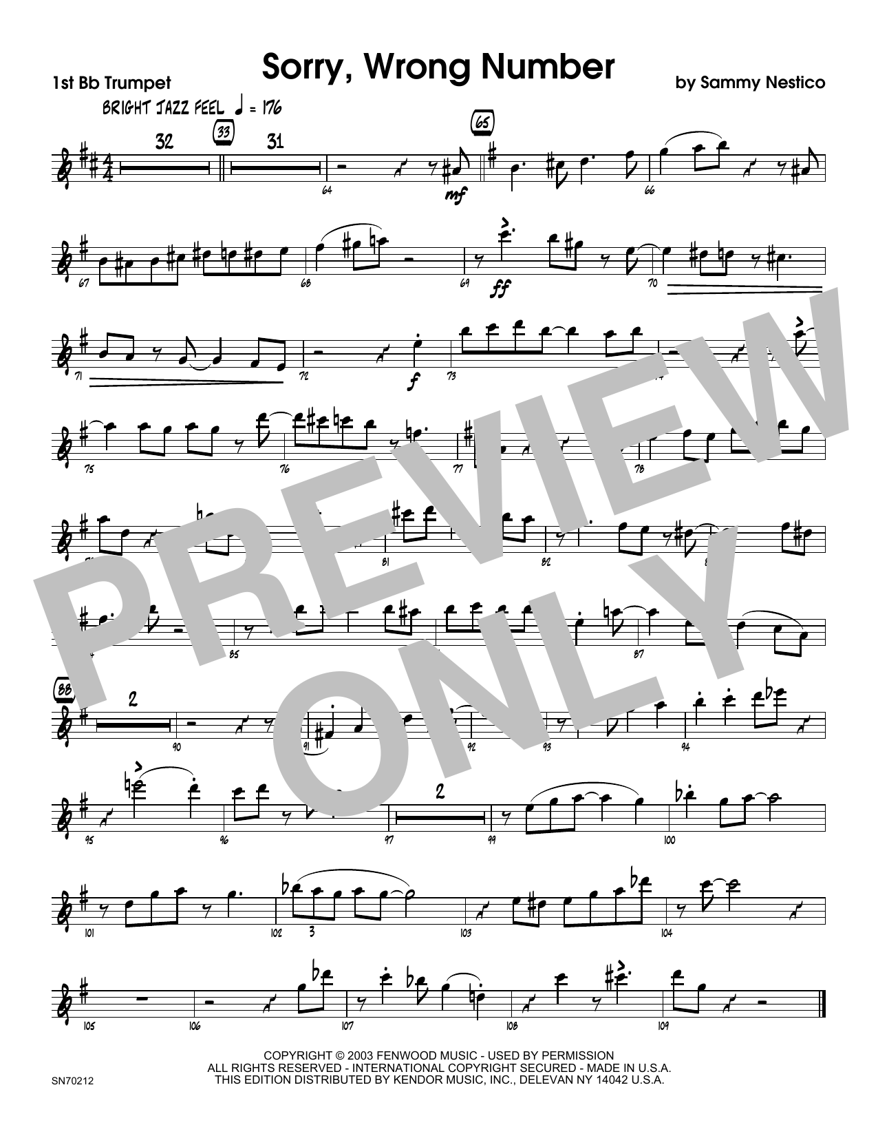 Sorry, Wrong Number - 1st Bb Trumpet Sheet Music