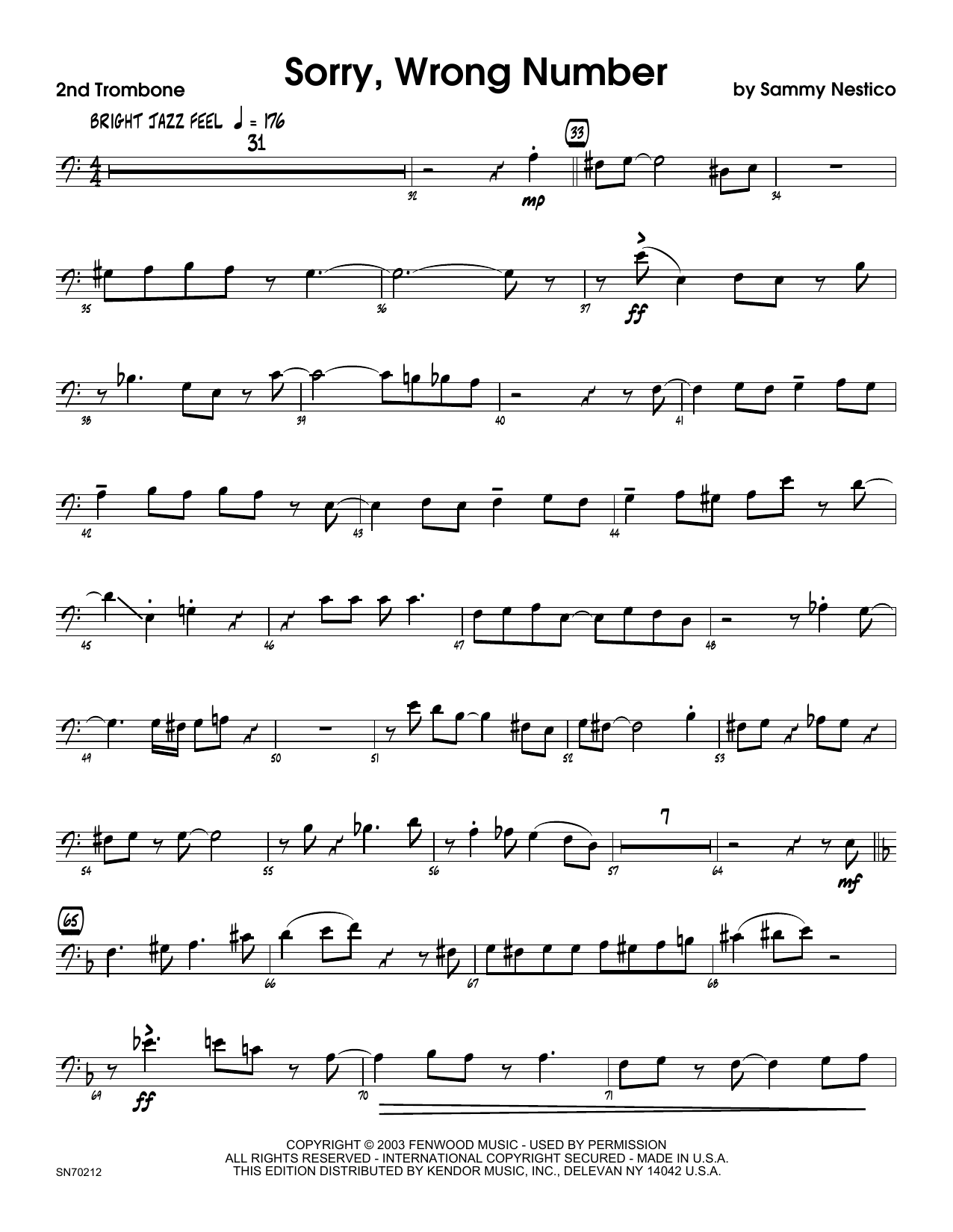Sorry, Wrong Number - 2nd Trombone Sheet Music