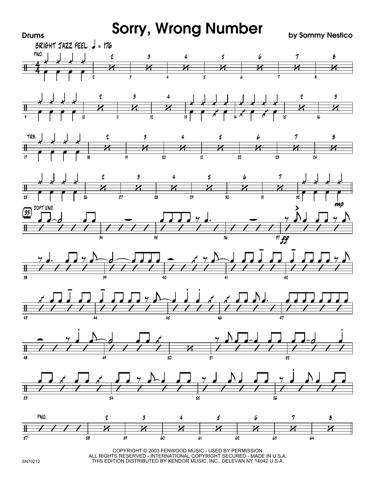 Sorry, Wrong Number - Drum Set Sheet Music