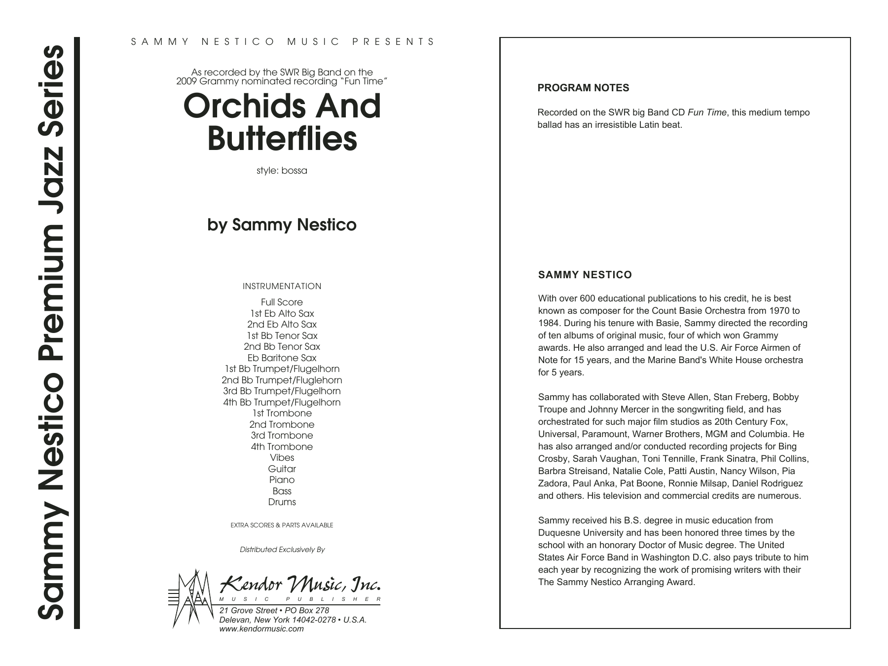 Orchids And Butterflies (COMPLETE) sheet music for jazz band by Sammy Nestico. Score Image Preview.