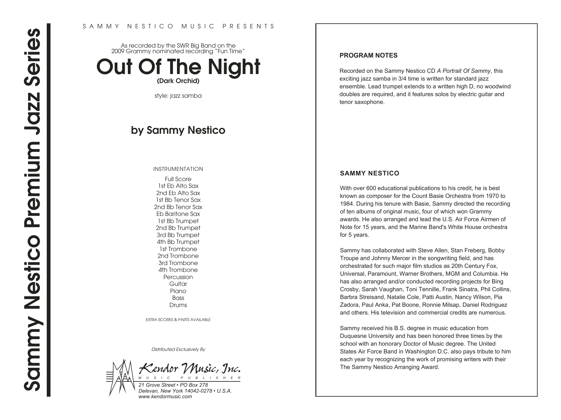 Out of the Night (COMPLETE) sheet music for jazz band by Sammy Nestico. Score Image Preview.