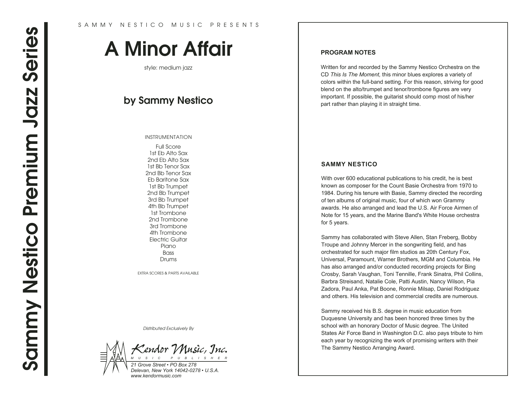 A Minor Affair (COMPLETE) sheet music for jazz band by Sammy Nestico. Score Image Preview.