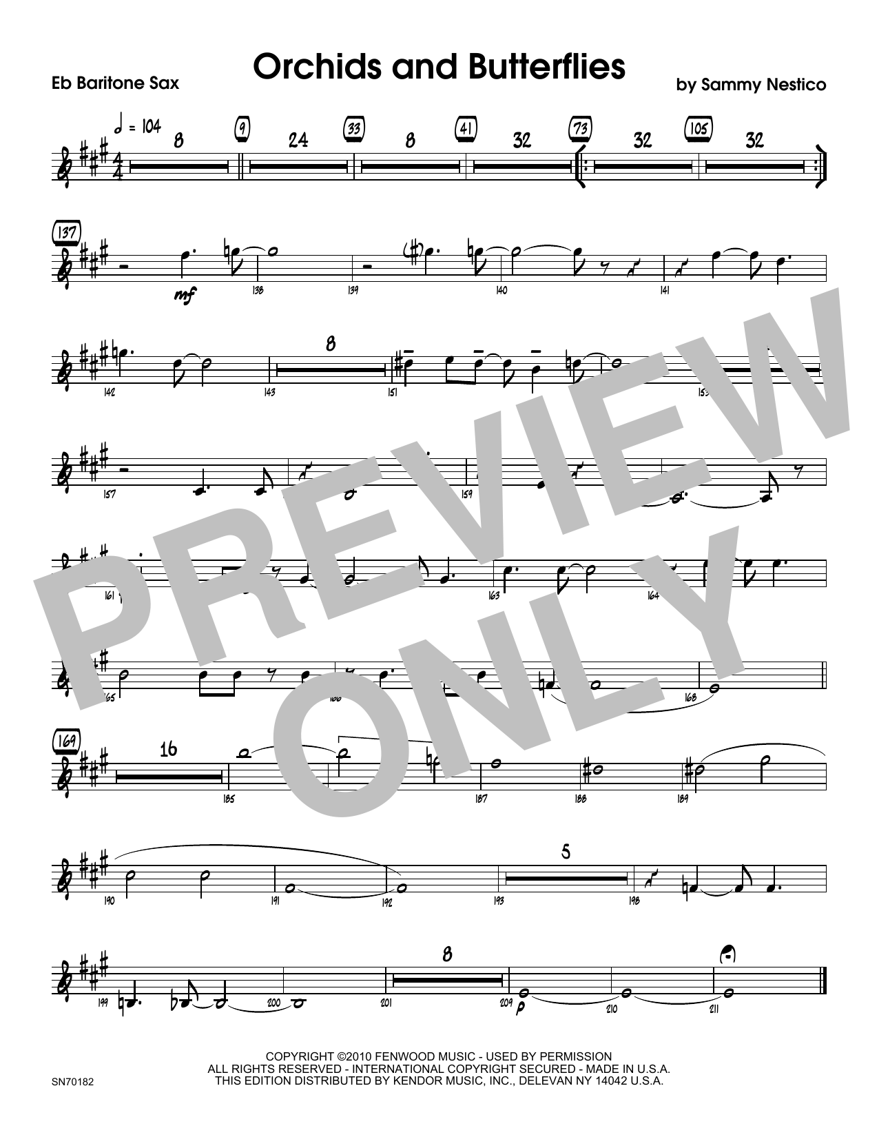 Orchids And Butterflies - Eb Baritone Saxophone Sheet Music