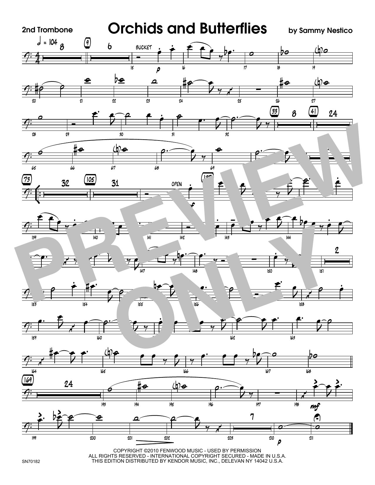Orchids And Butterflies - 2nd Trombone Sheet Music
