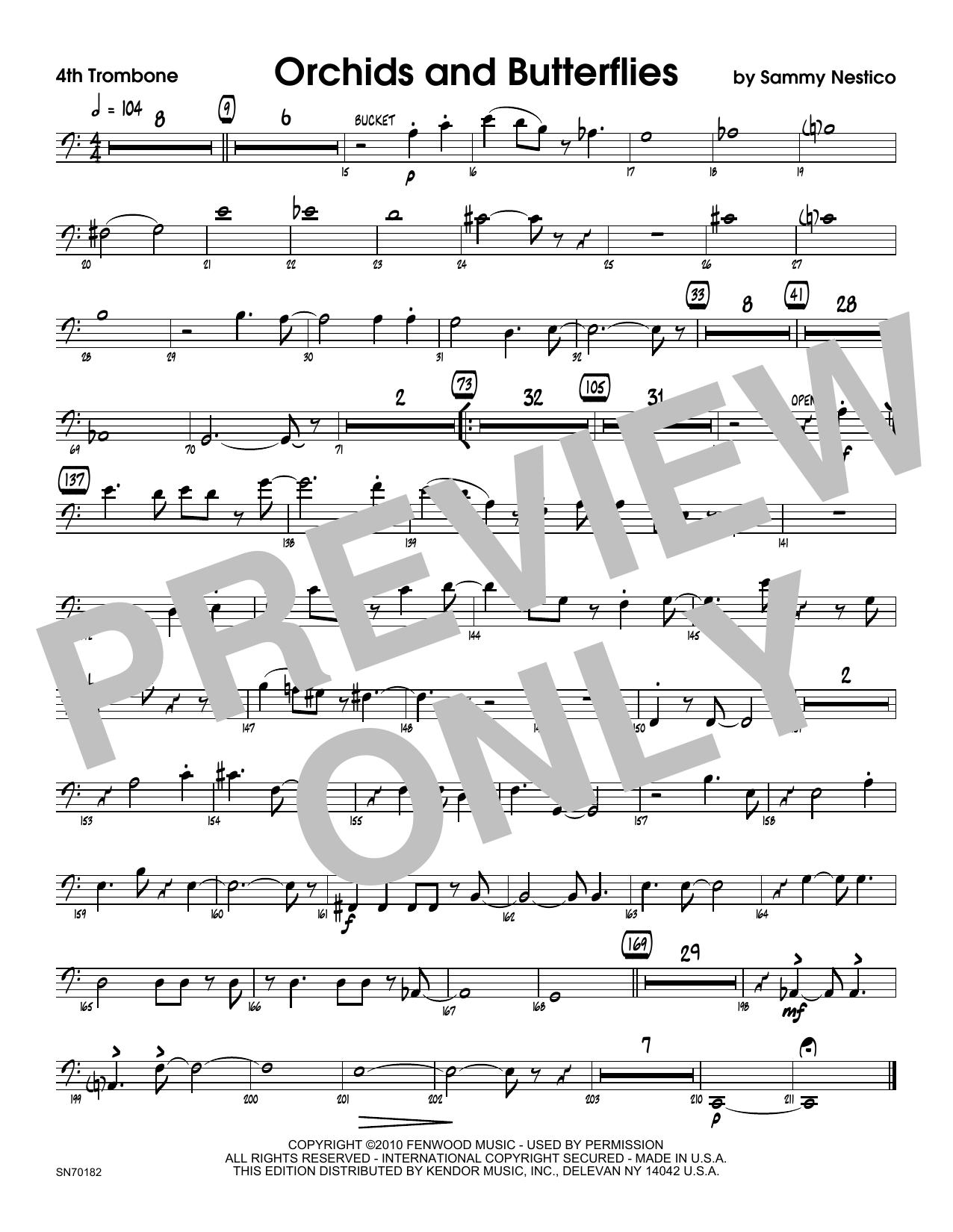 Orchids And Butterflies - 4th Trombone Sheet Music