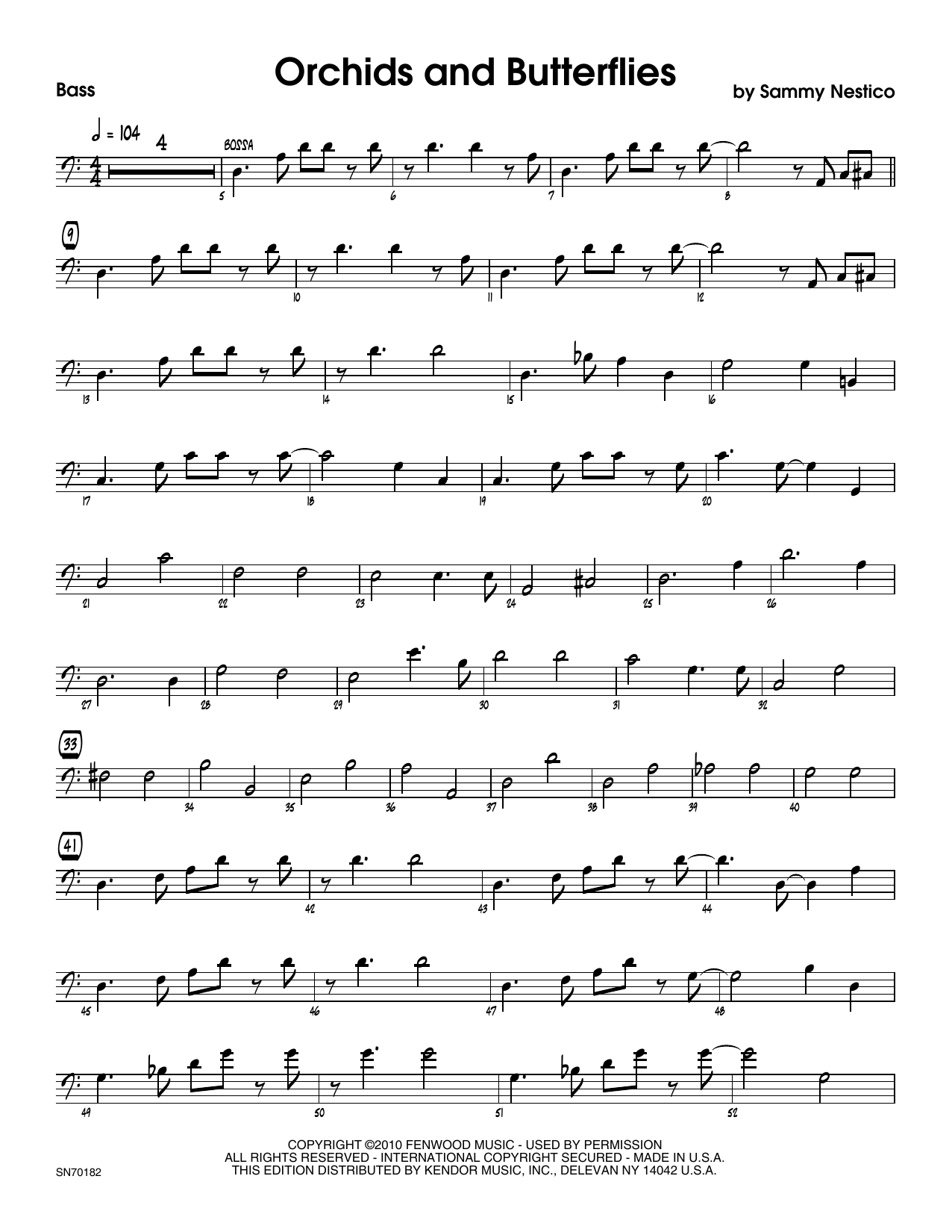 Orchids And Butterflies - Bass Sheet Music