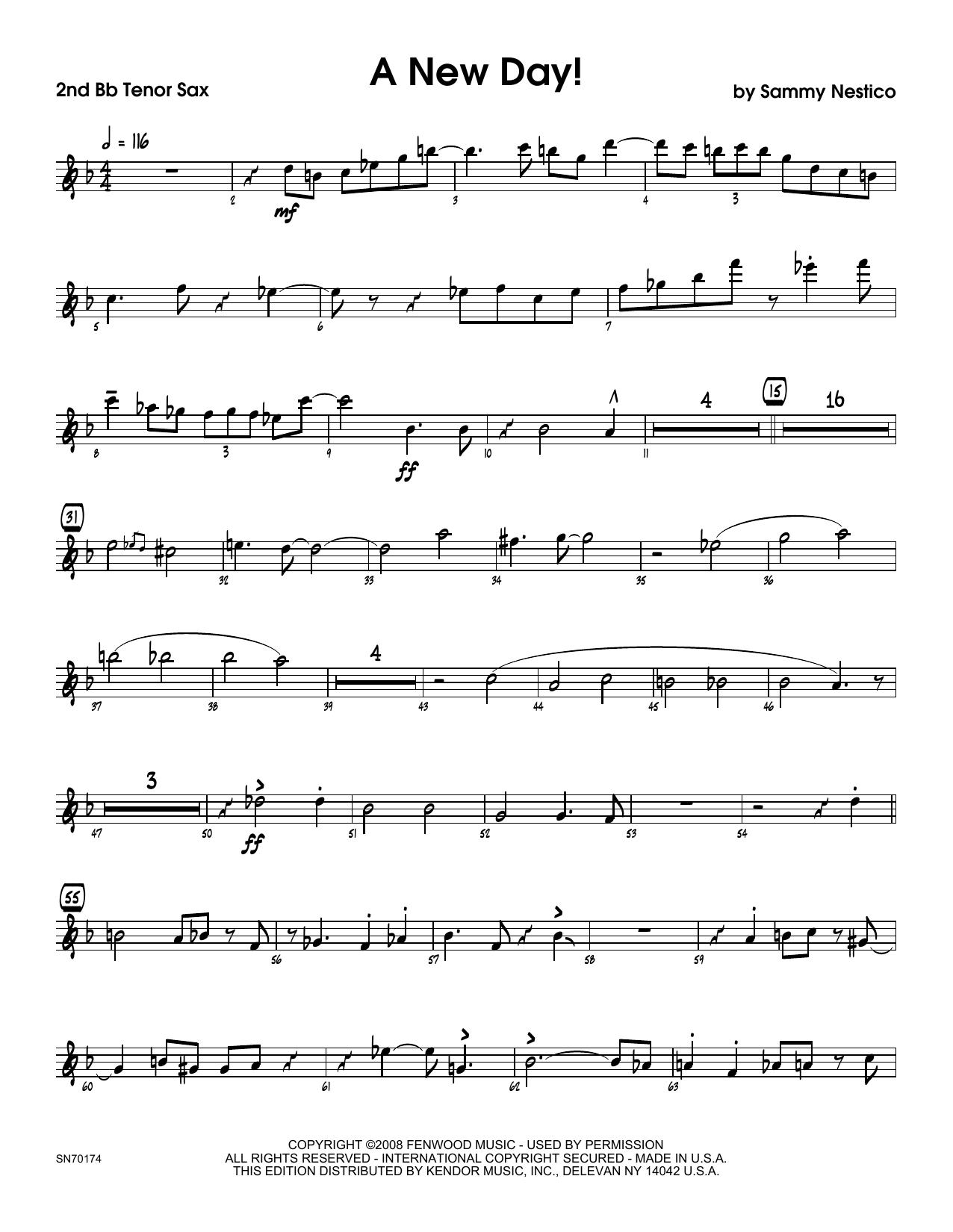 A New Day! - 2nd Bb Tenor Saxophone Sheet Music