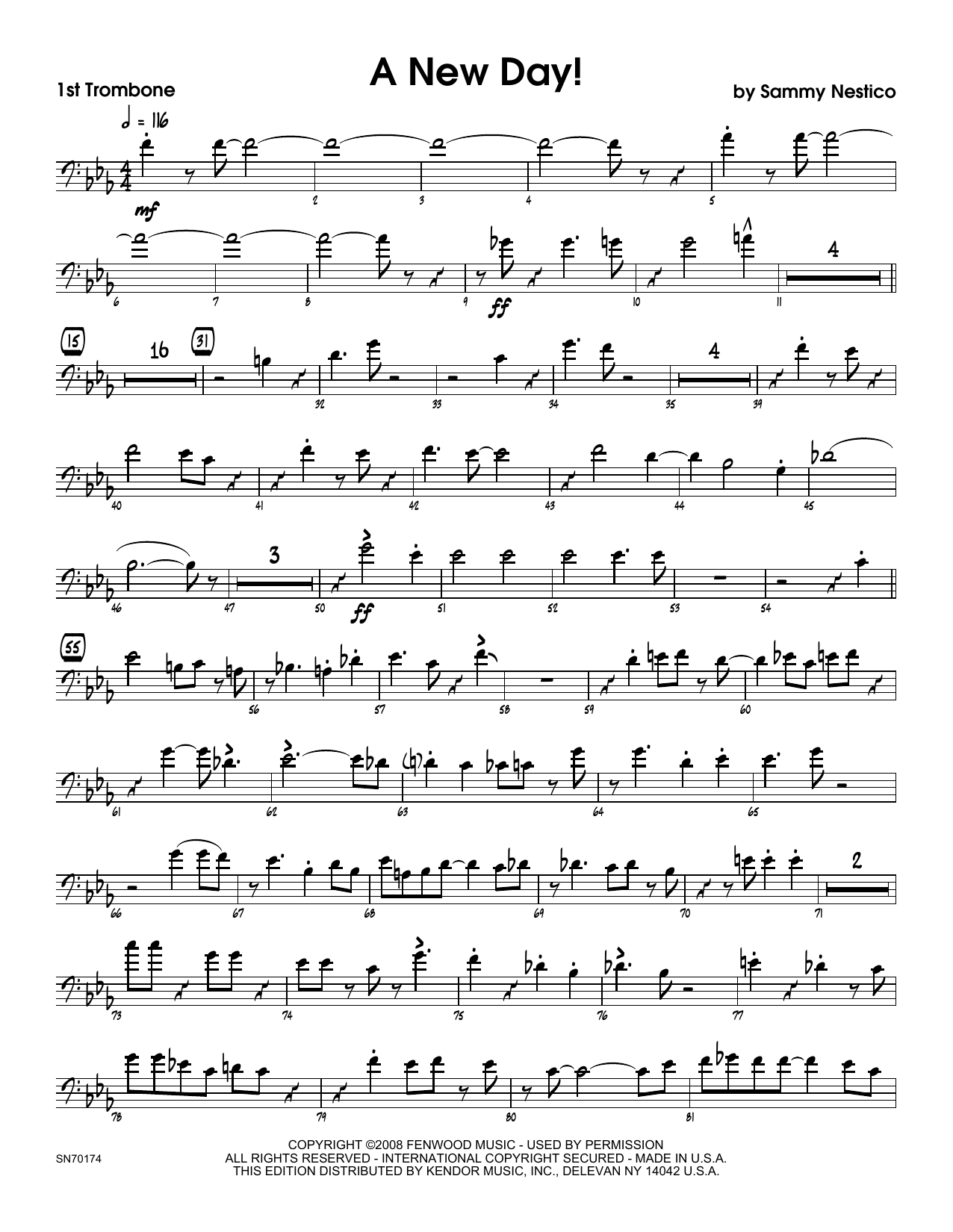 A New Day! - 1st Trombone Sheet Music