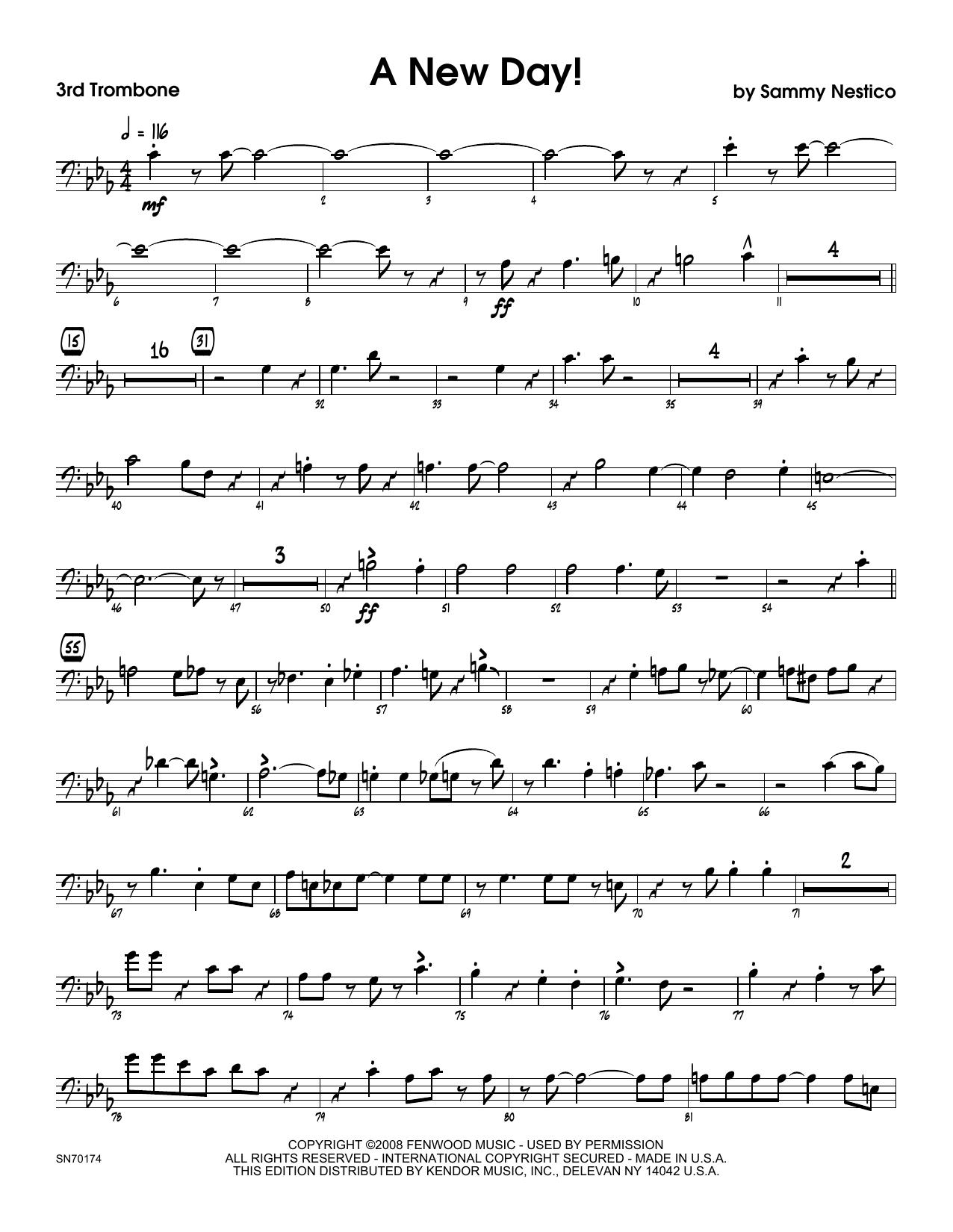 A New Day! - 3rd Trombone Sheet Music