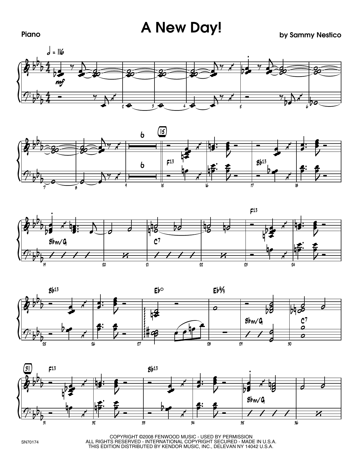 A New Day! - Piano Sheet Music