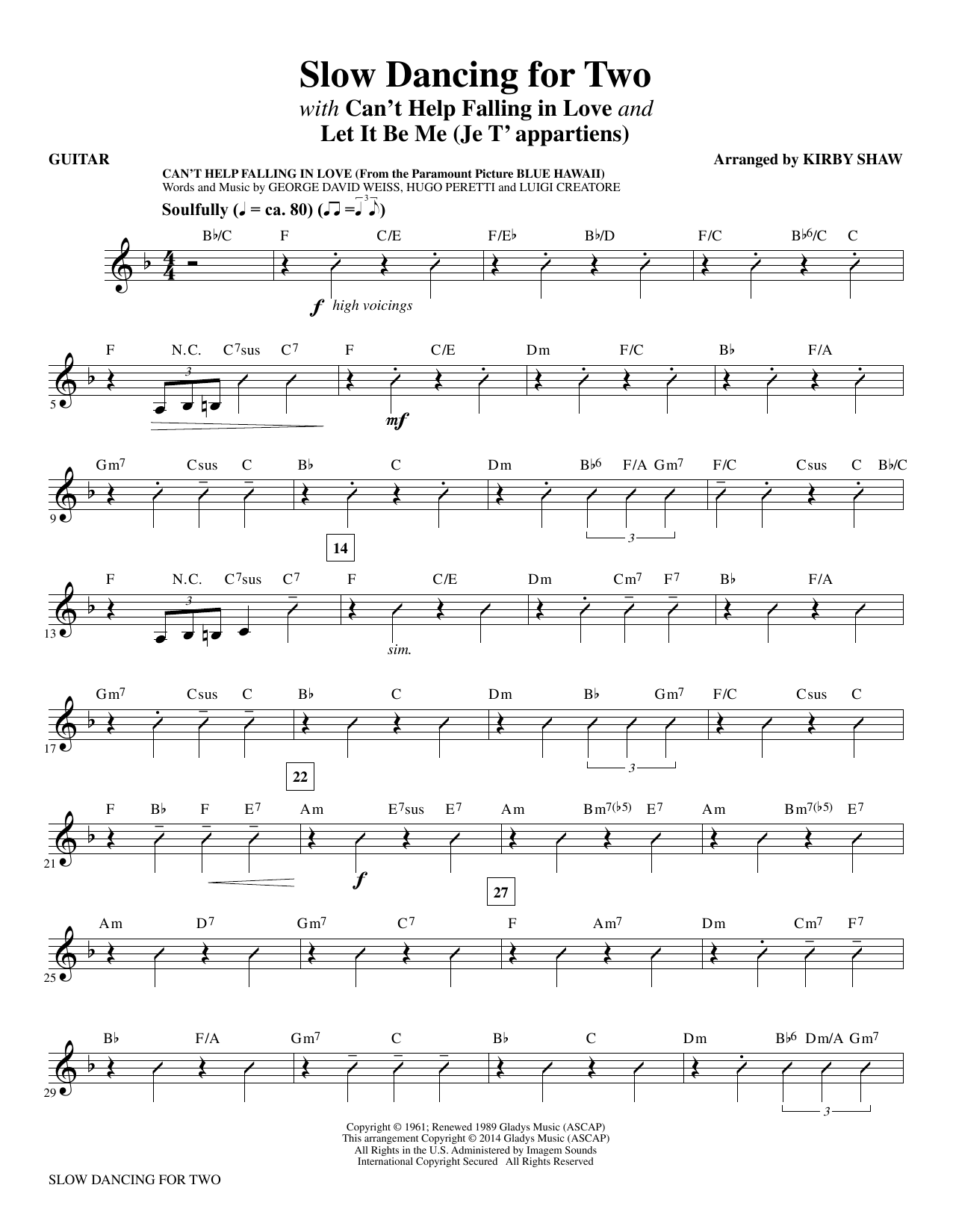 Slow Dancing for Two - Guitar Sheet Music