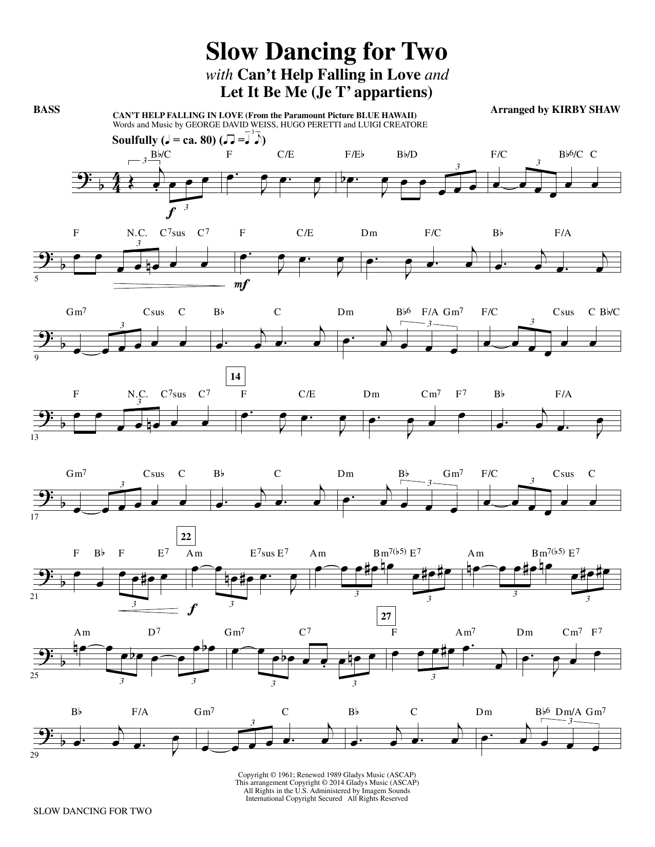 Slow Dancing for Two - Bass Sheet Music