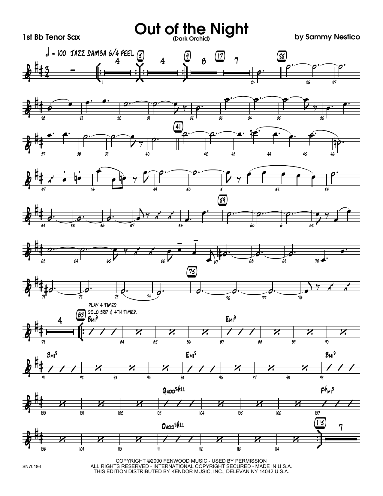 Out of the Night - 1st Tenor Saxophone Sheet Music