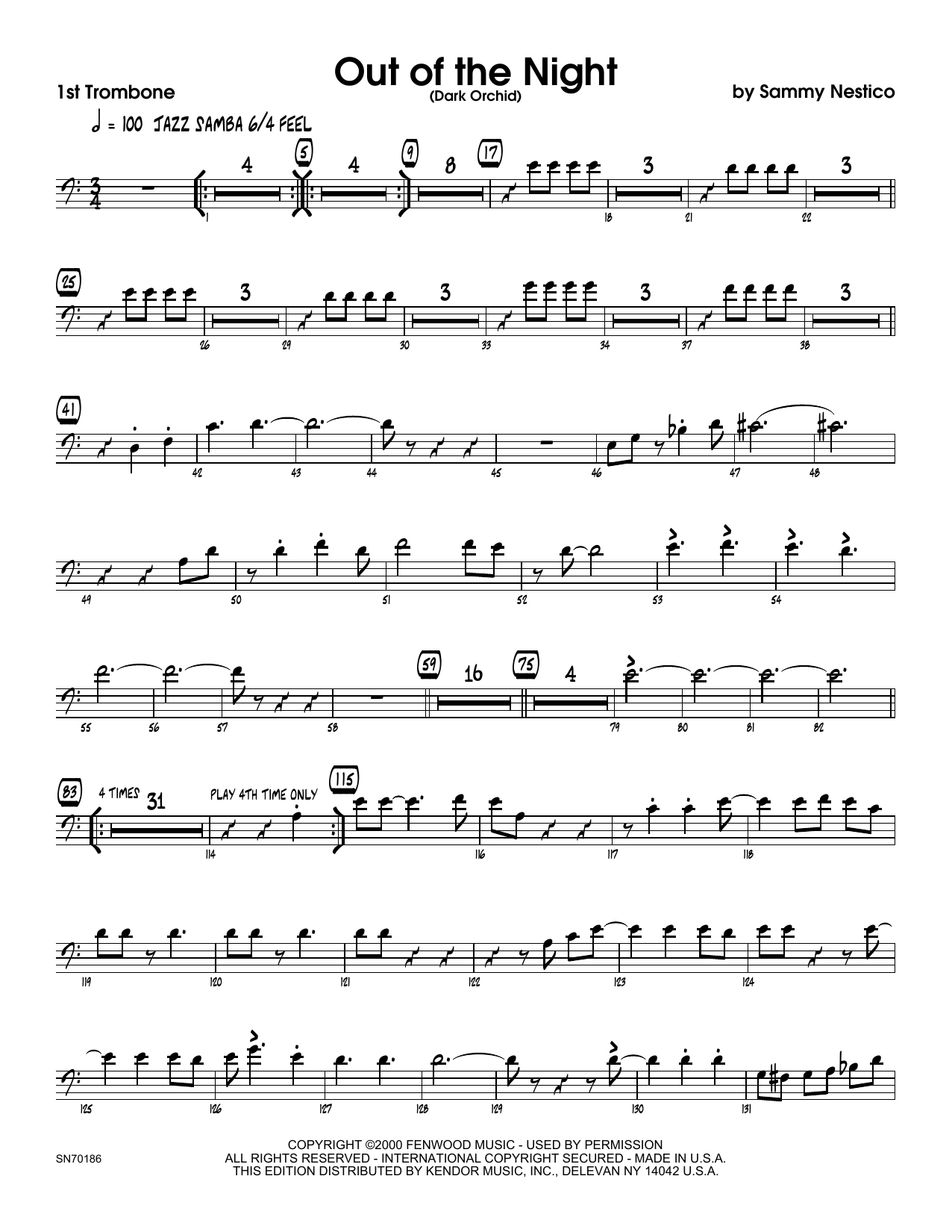 Out of the Night - 1st Trombone Sheet Music
