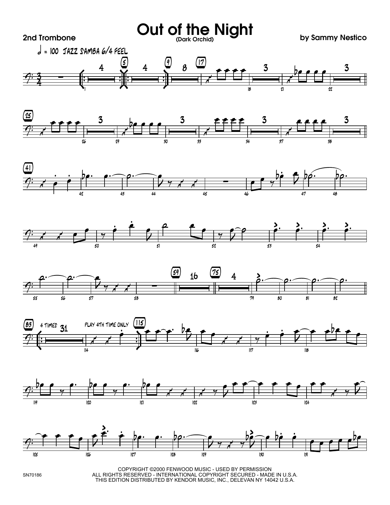 Out of the Night - 2nd Trombone Sheet Music