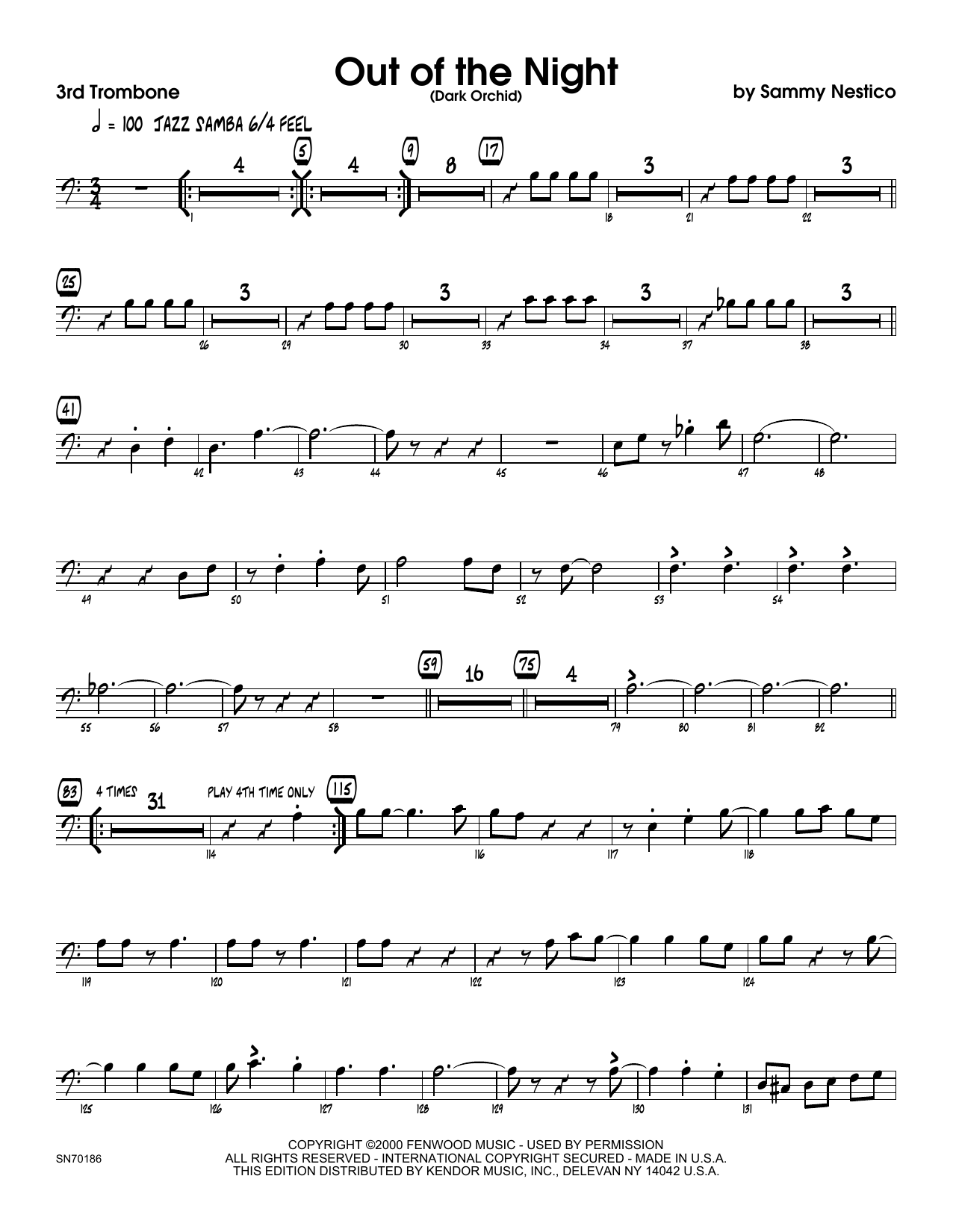 Out of the Night - 3rd Trombone Sheet Music